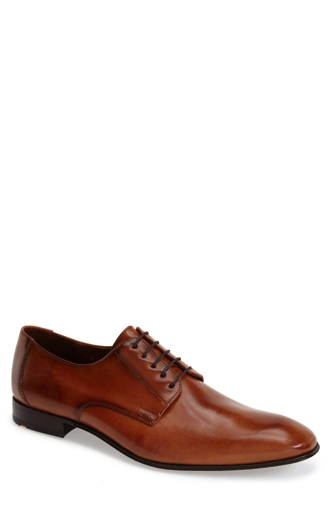 'Laurin' Plain Toe Derby,                             Main thumbnail 1, color,                             LIGHT BROWN