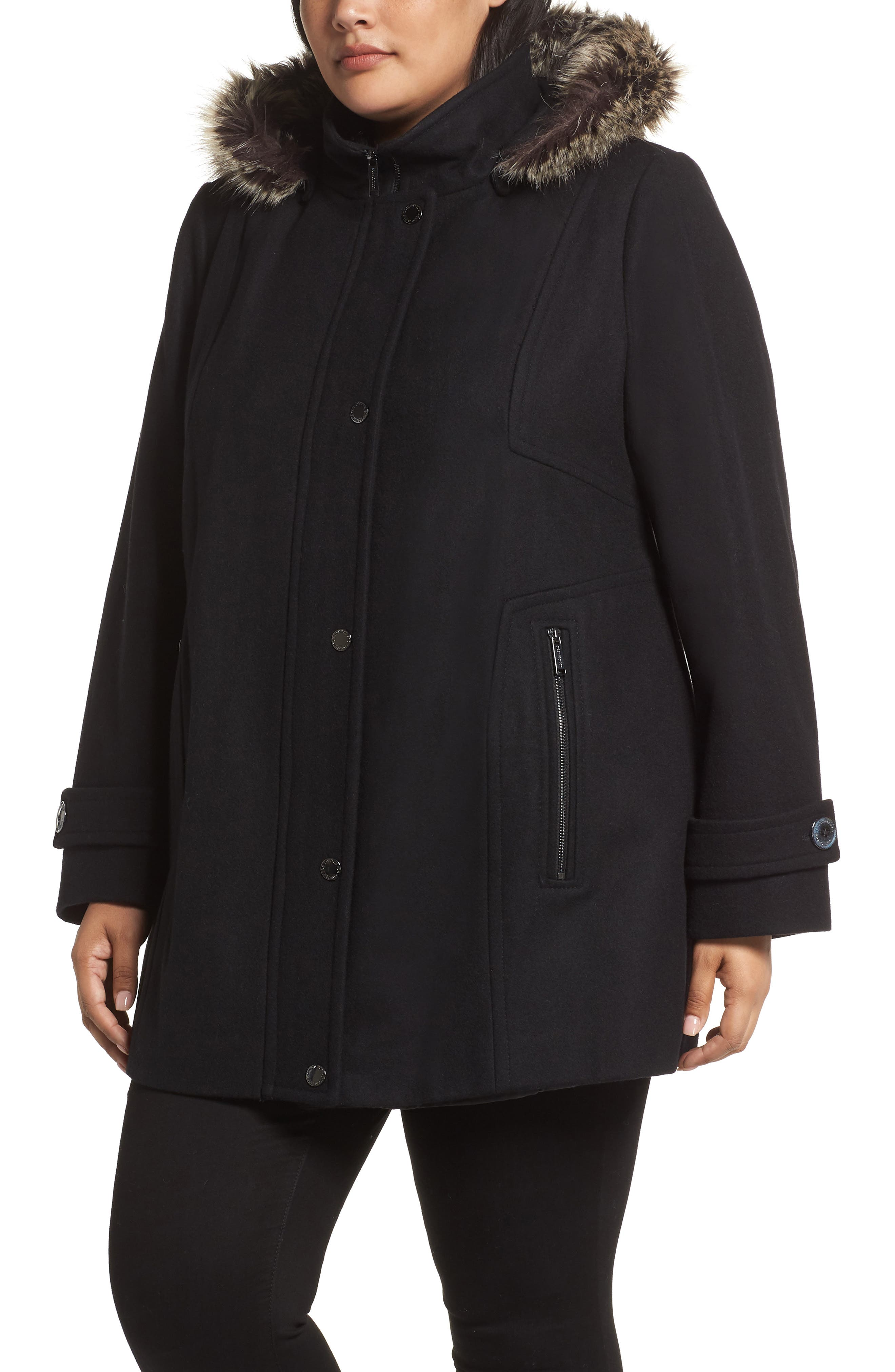 Hooded Wool Blend Coat with Faux Fur Trim,                             Alternate thumbnail 4, color,                             BLACK