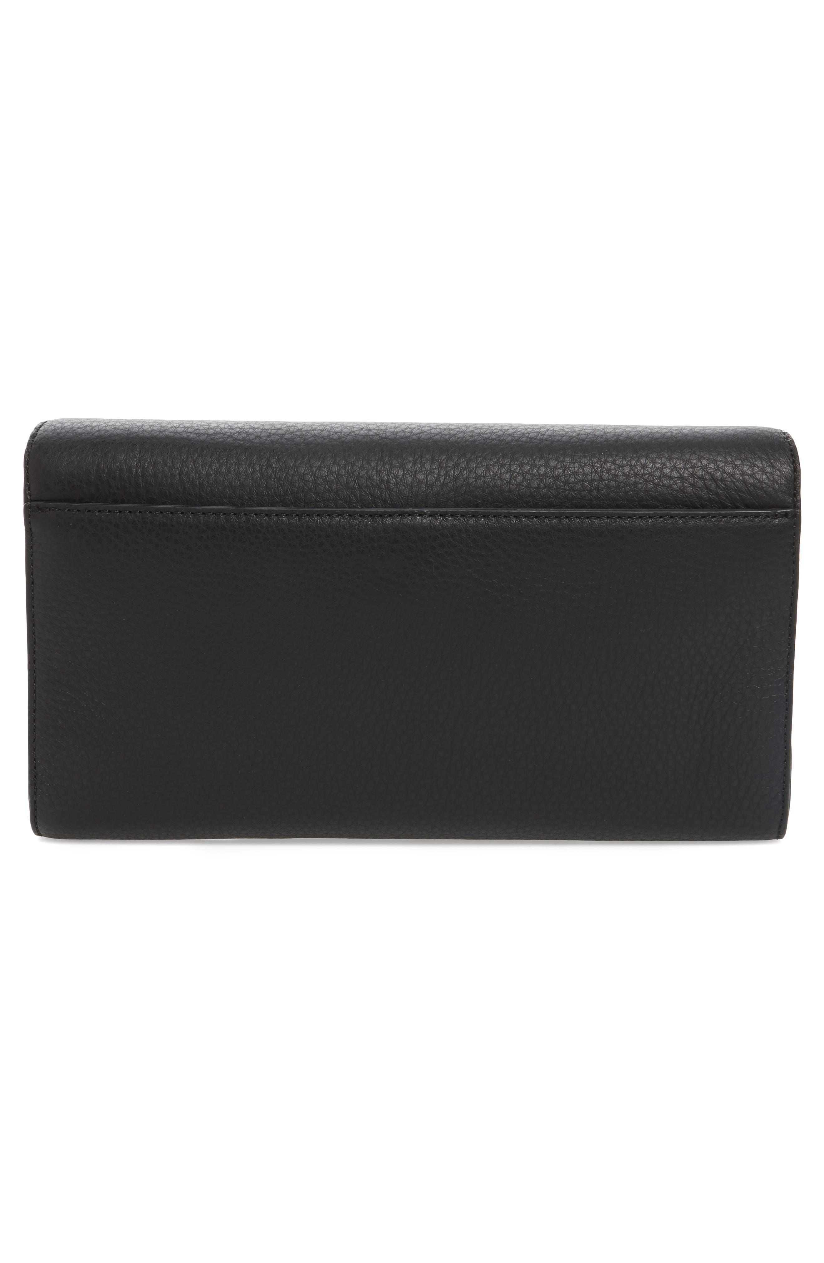 Flex Leather Envelope Clutch,                             Alternate thumbnail 3, color,                             001
