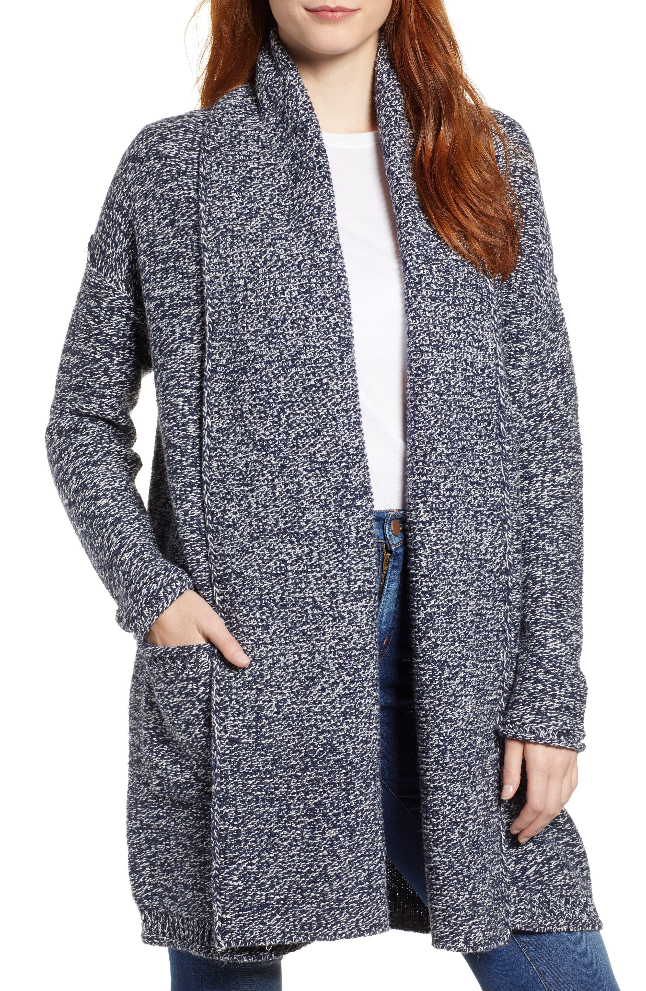 Shawl Collar Cardigan,                         Main,                         color, NAVY- WHITE MARL