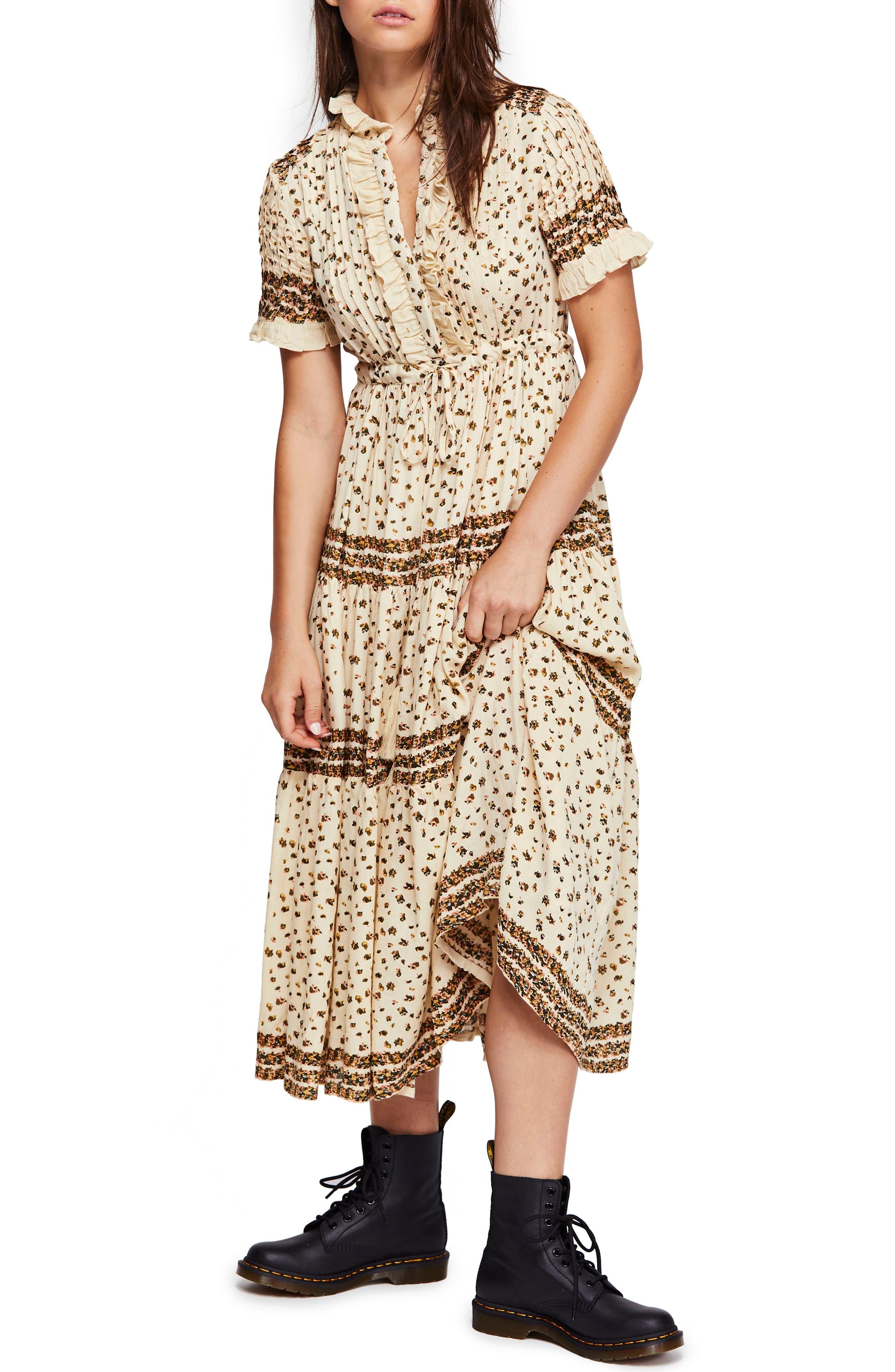 Free People Rare Feeling Pleated Maxi Dress, Beige
