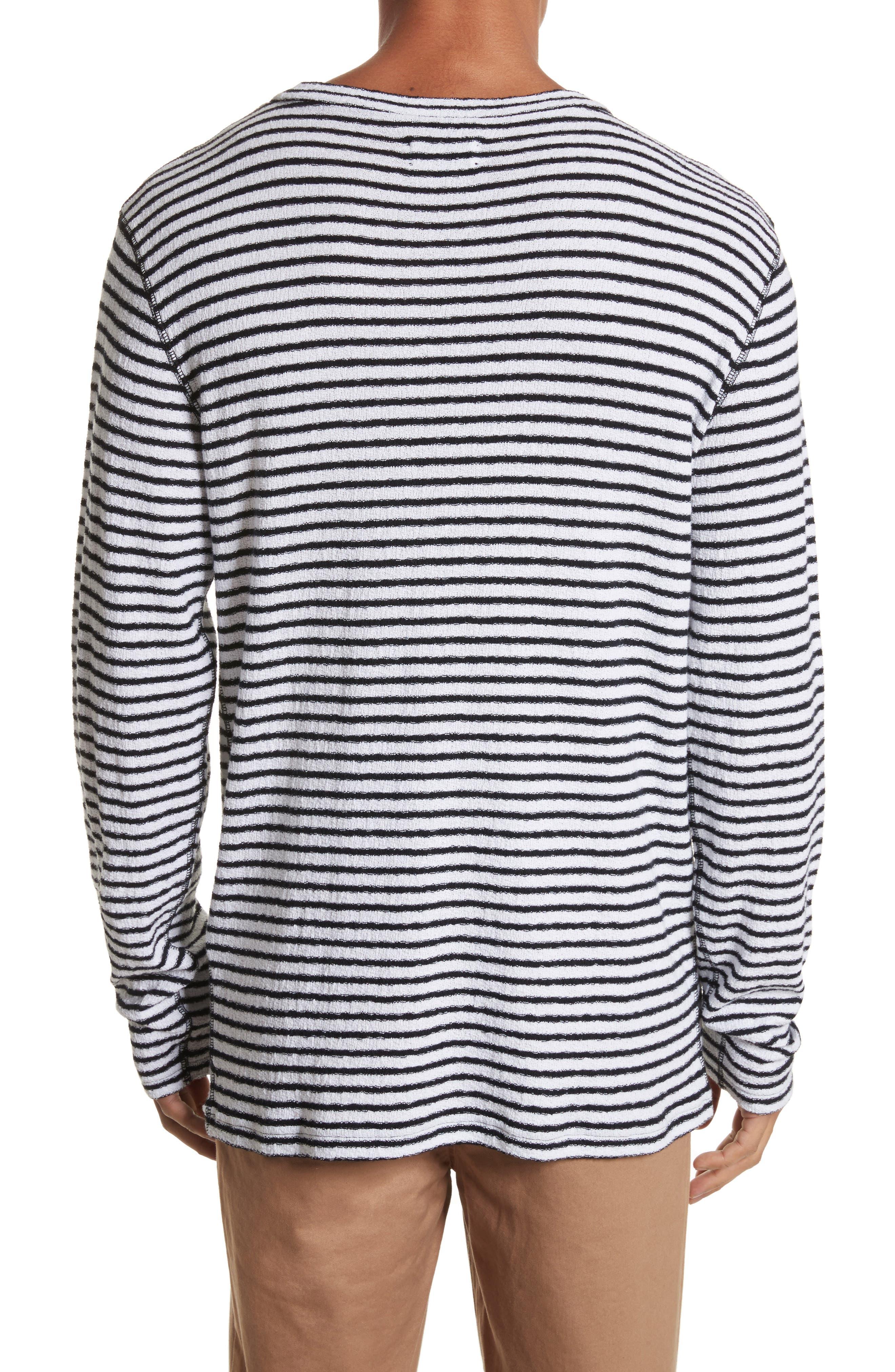 Alex Stripe Long Sleeve T-Shirt,                             Alternate thumbnail 2, color,                             WHITE/BLACK