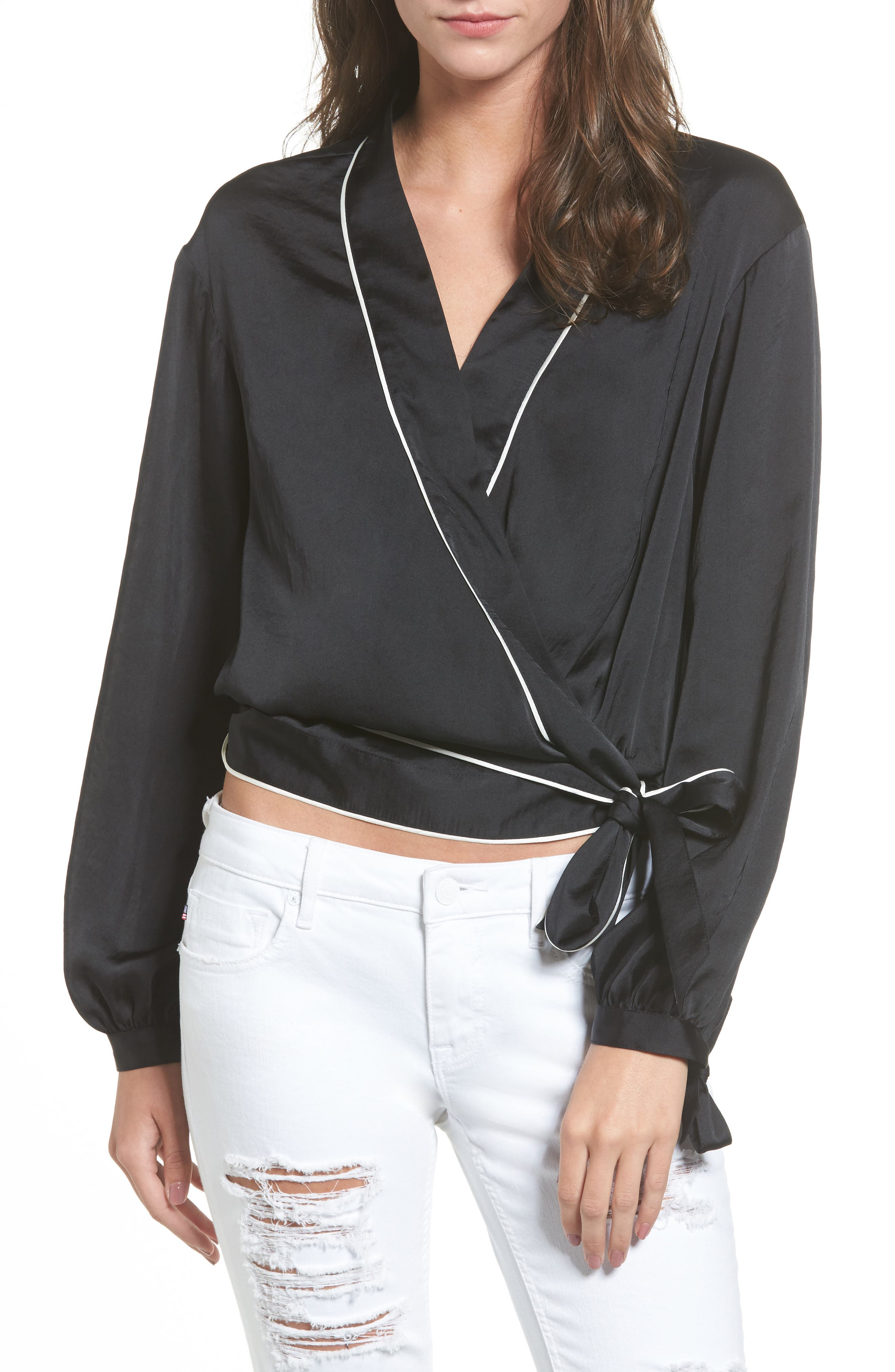 Piped Satin Wrap Top,                         Main,                         color, 001
