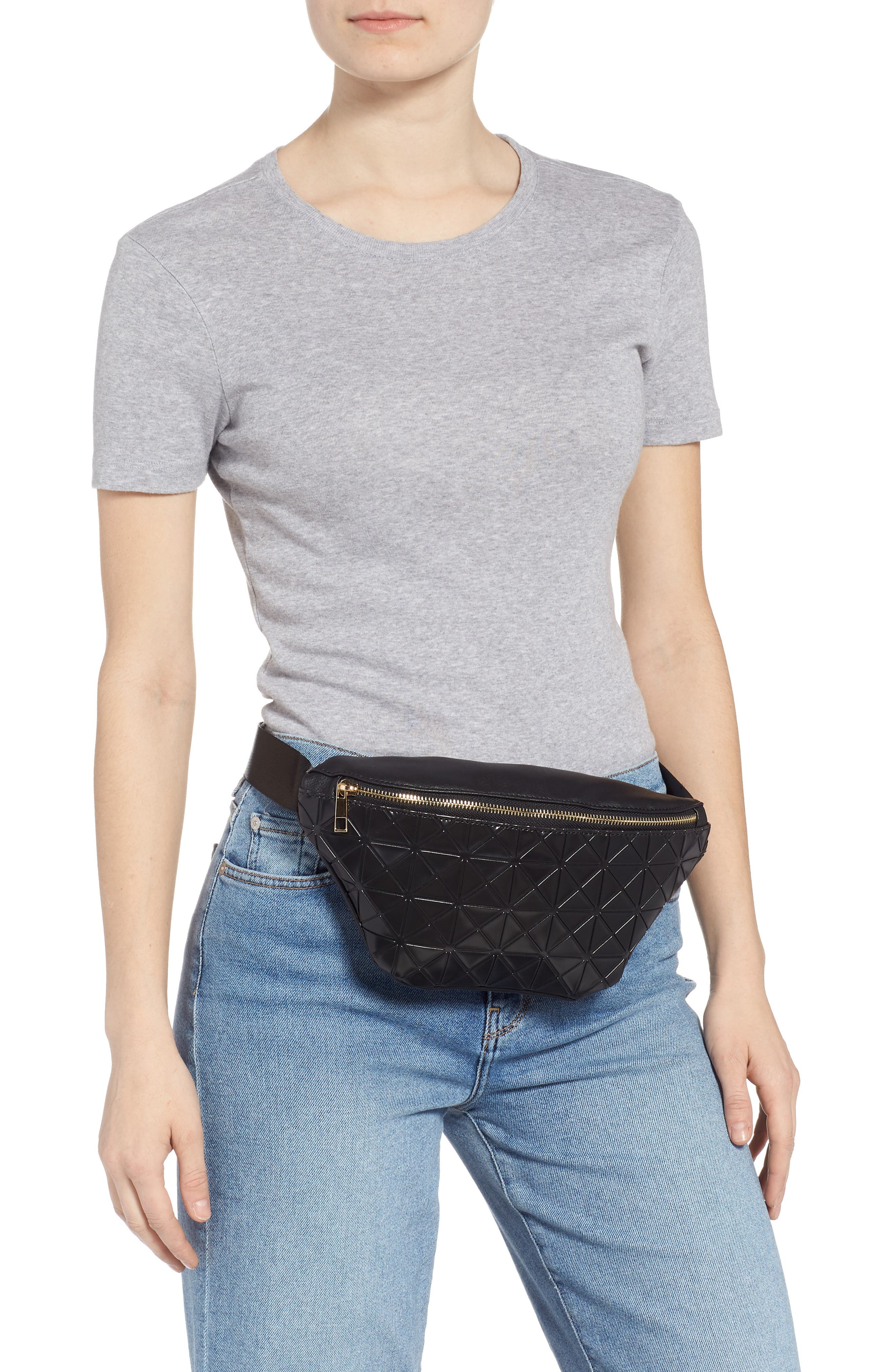 Geometric Detail Faux Leather Belt Bag,                             Alternate thumbnail 2, color,                             BLACK