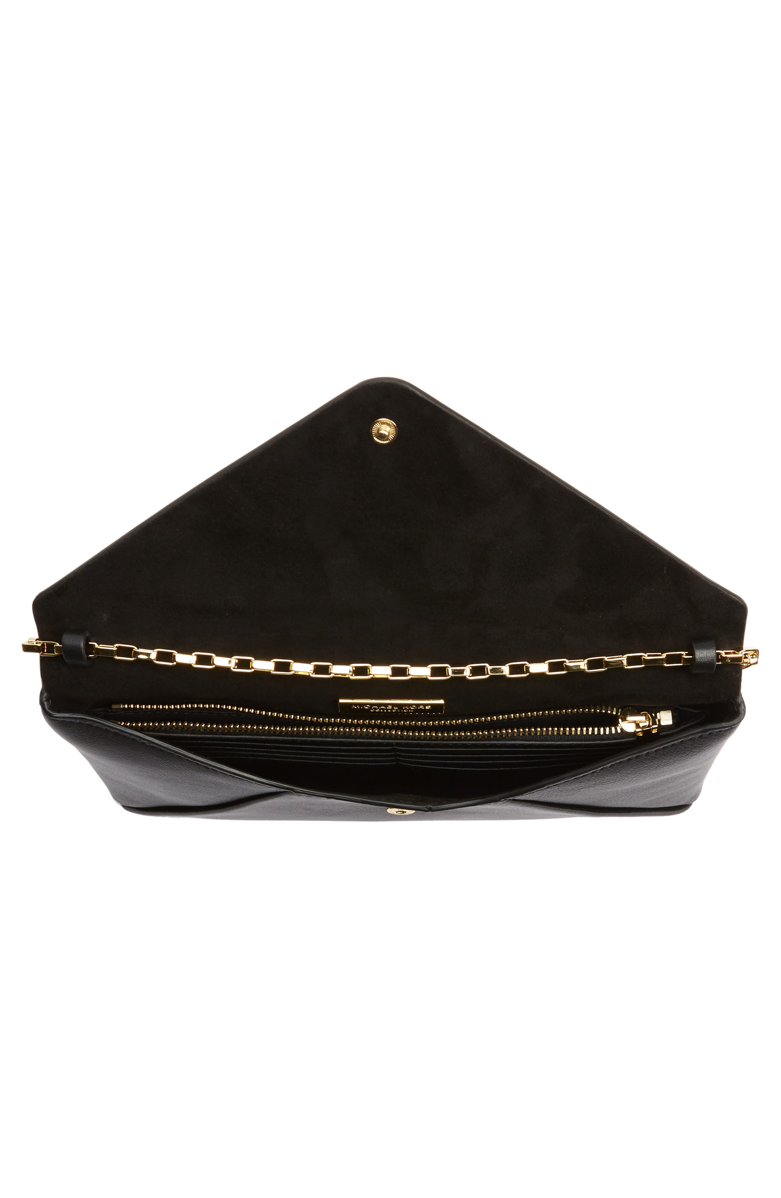 Small Calfskin Leather Envelope Clutch,                             Alternate thumbnail 4, color,                             001