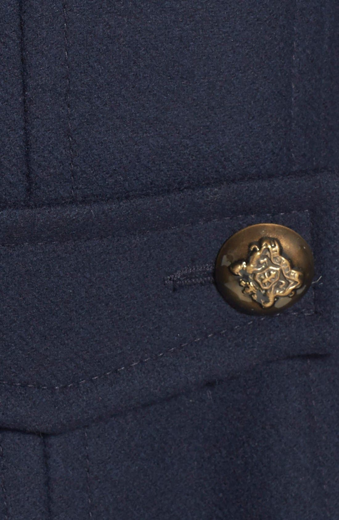 Double Breasted Wool Blend Peacoat,                             Alternate thumbnail 3, color,                             001