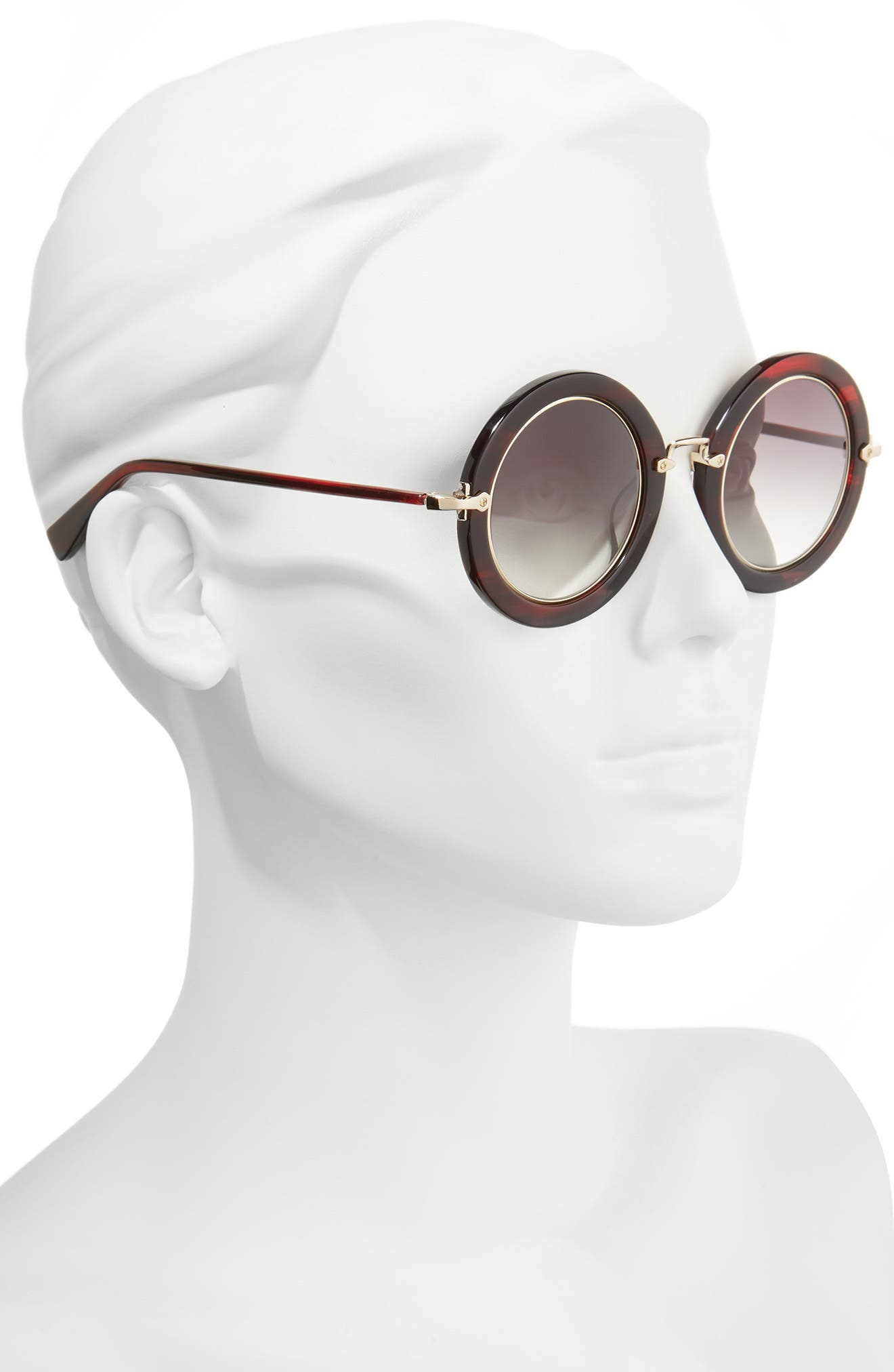 Madison 46mm Round Sunglasses,                             Alternate thumbnail 2, color,                             RED FEATHER