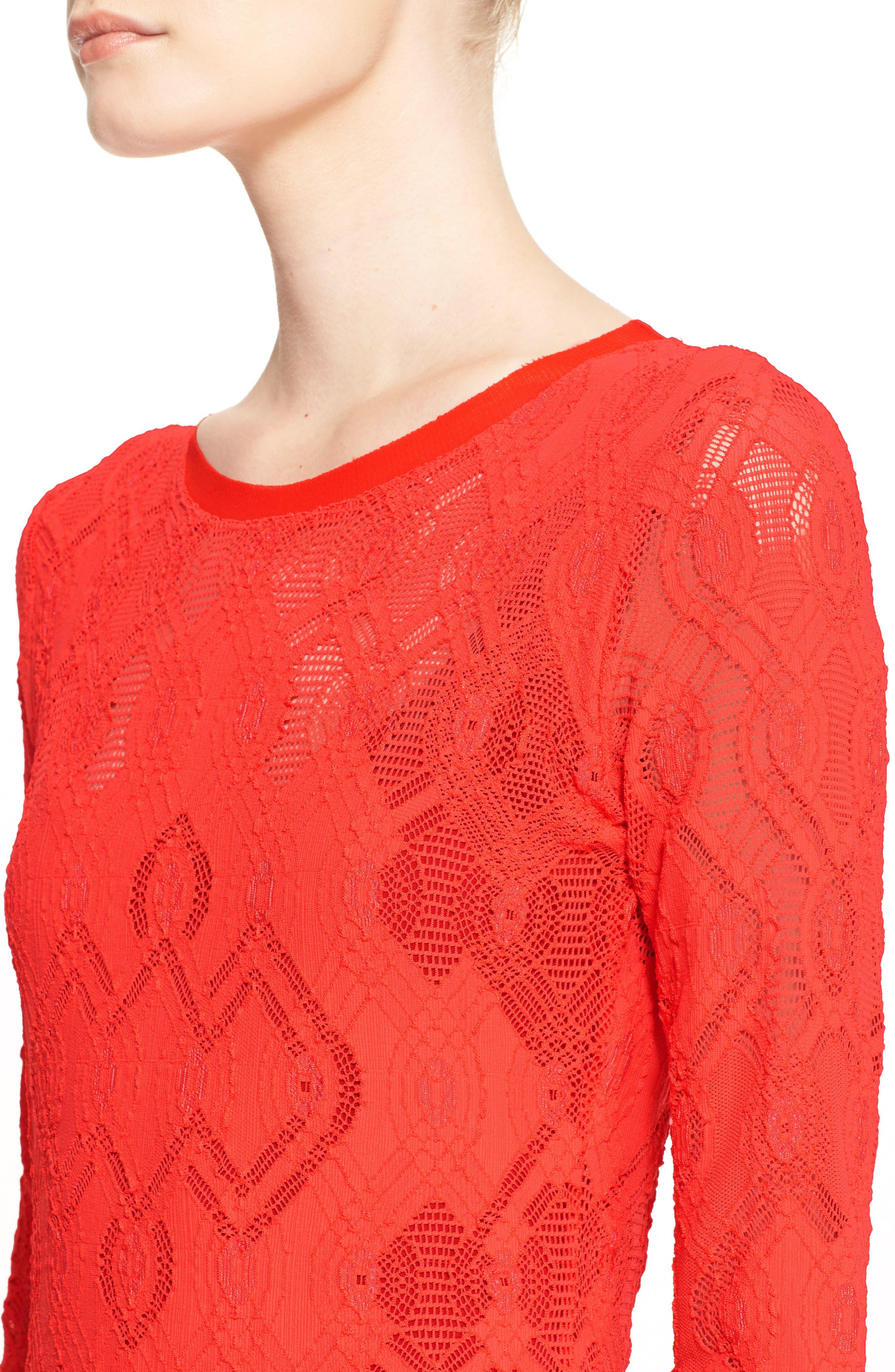 Long Sleeve Geo Lace Sheath Dress,                             Alternate thumbnail 5, color,                             600