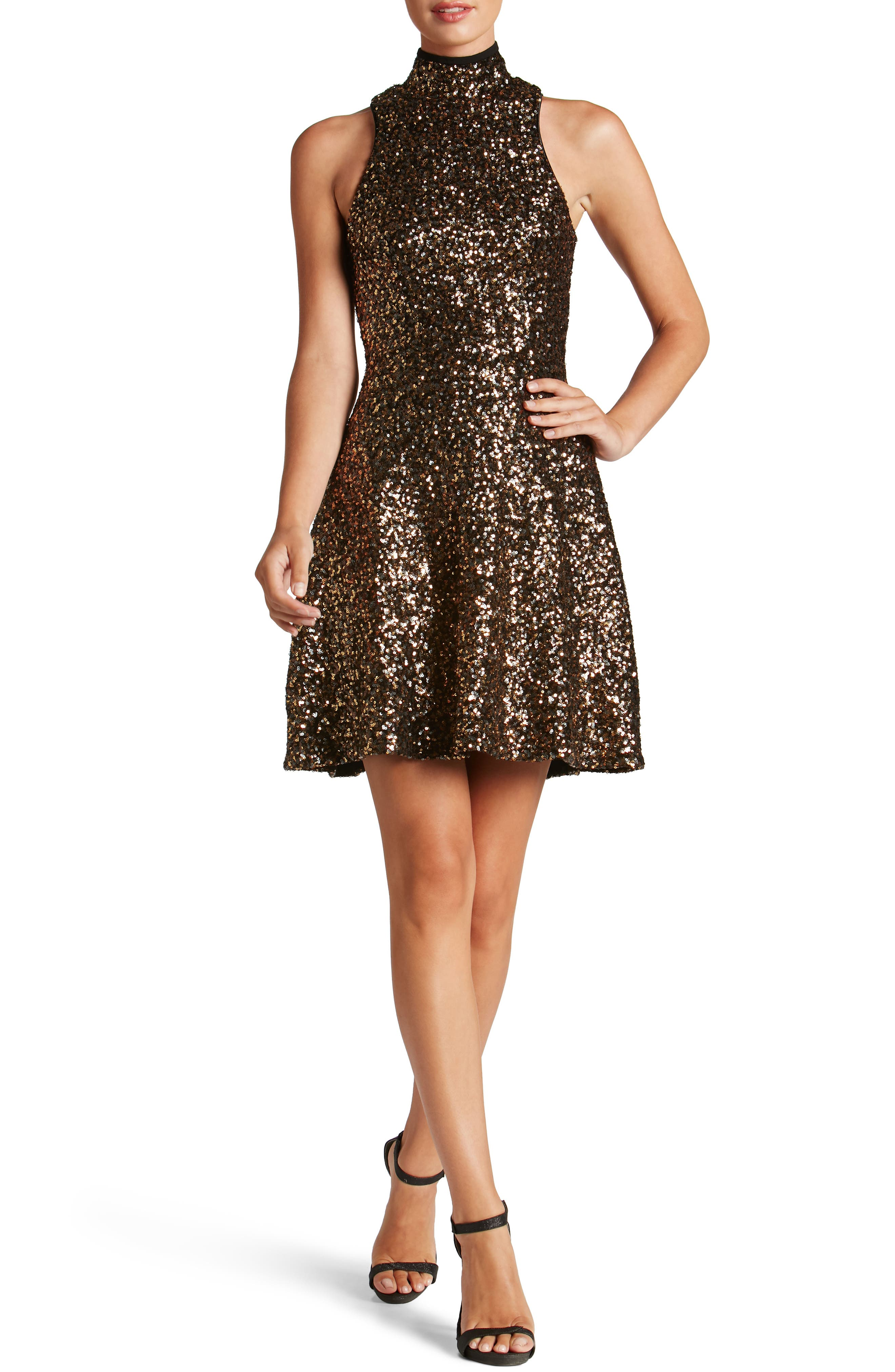 Stevie Sequin Fit & Flare Dress,                             Main thumbnail 3, color,