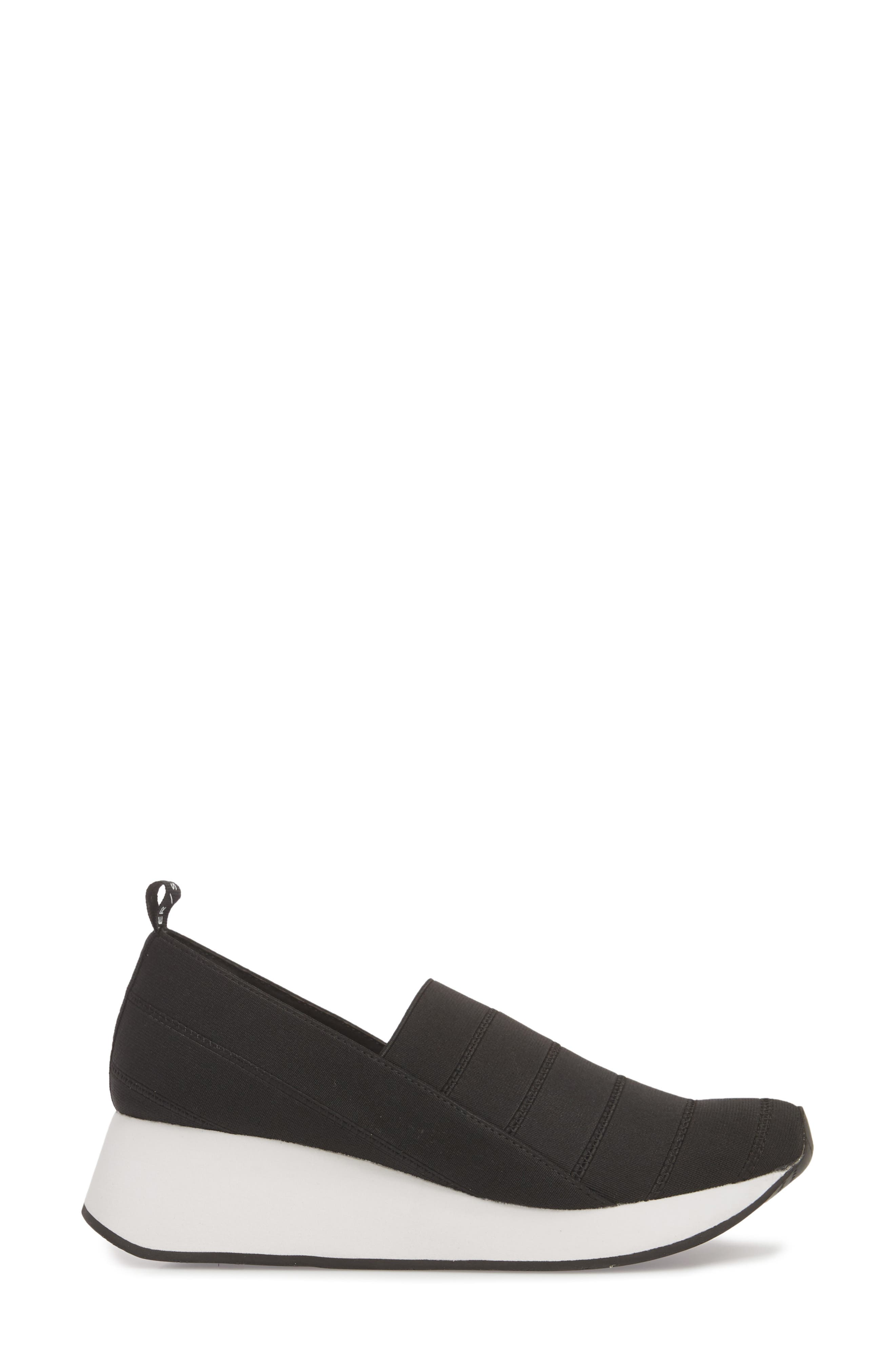 Piper Platform Slip-On Sneaker,                             Alternate thumbnail 3, color,                             BLACK STRETCH FABRIC
