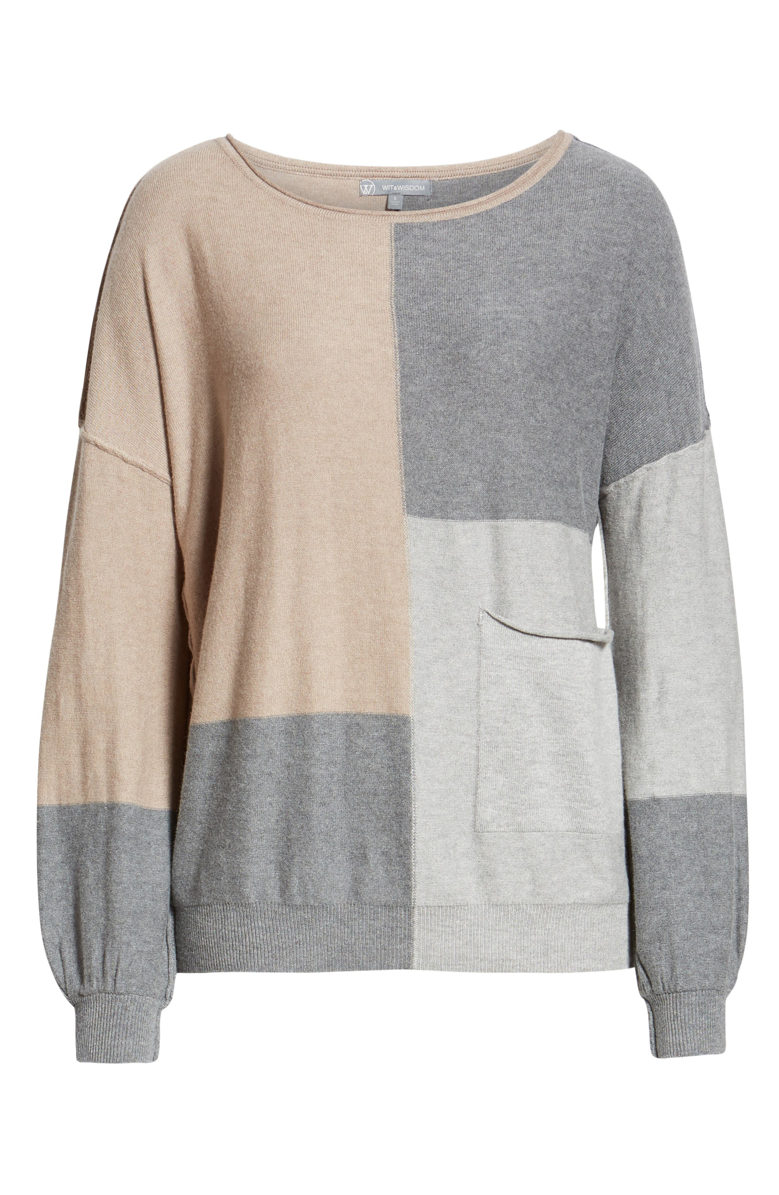 Colorblock Sweater,                             Alternate thumbnail 6, color,                             TAUPE/ HEATHER GREY