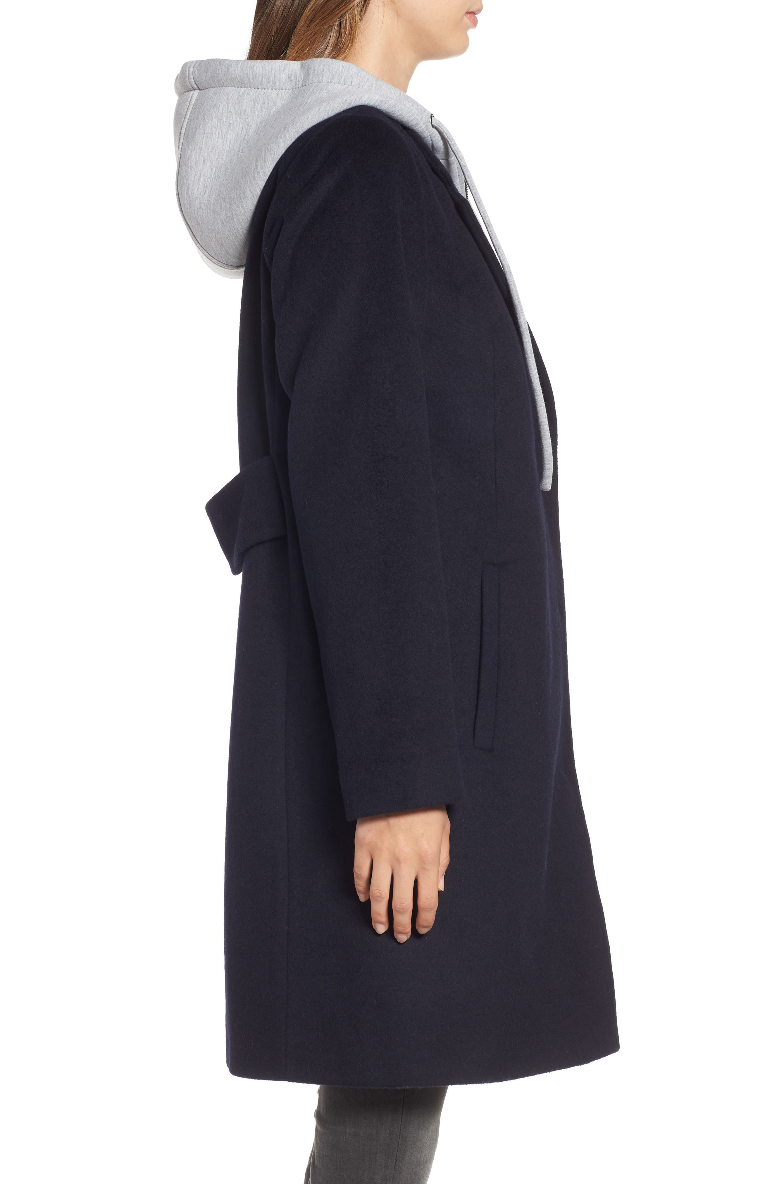 Hoodie Inset Wool Blend Coat,                             Alternate thumbnail 3, color,                             NAVY