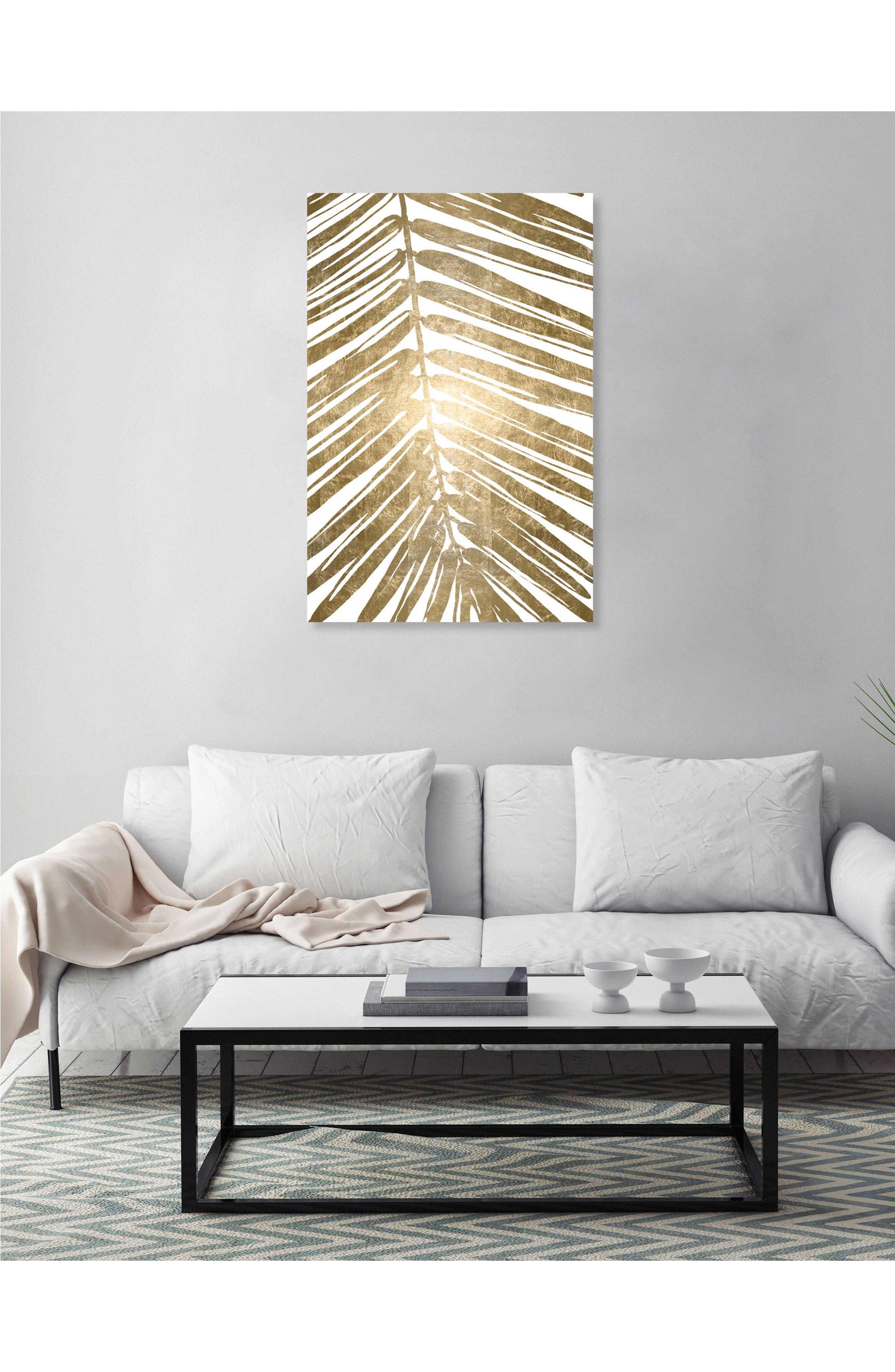 Gold Tropical Leaves IV Canvas Wall Art,                             Alternate thumbnail 2, color,                             METALLIC GOLD