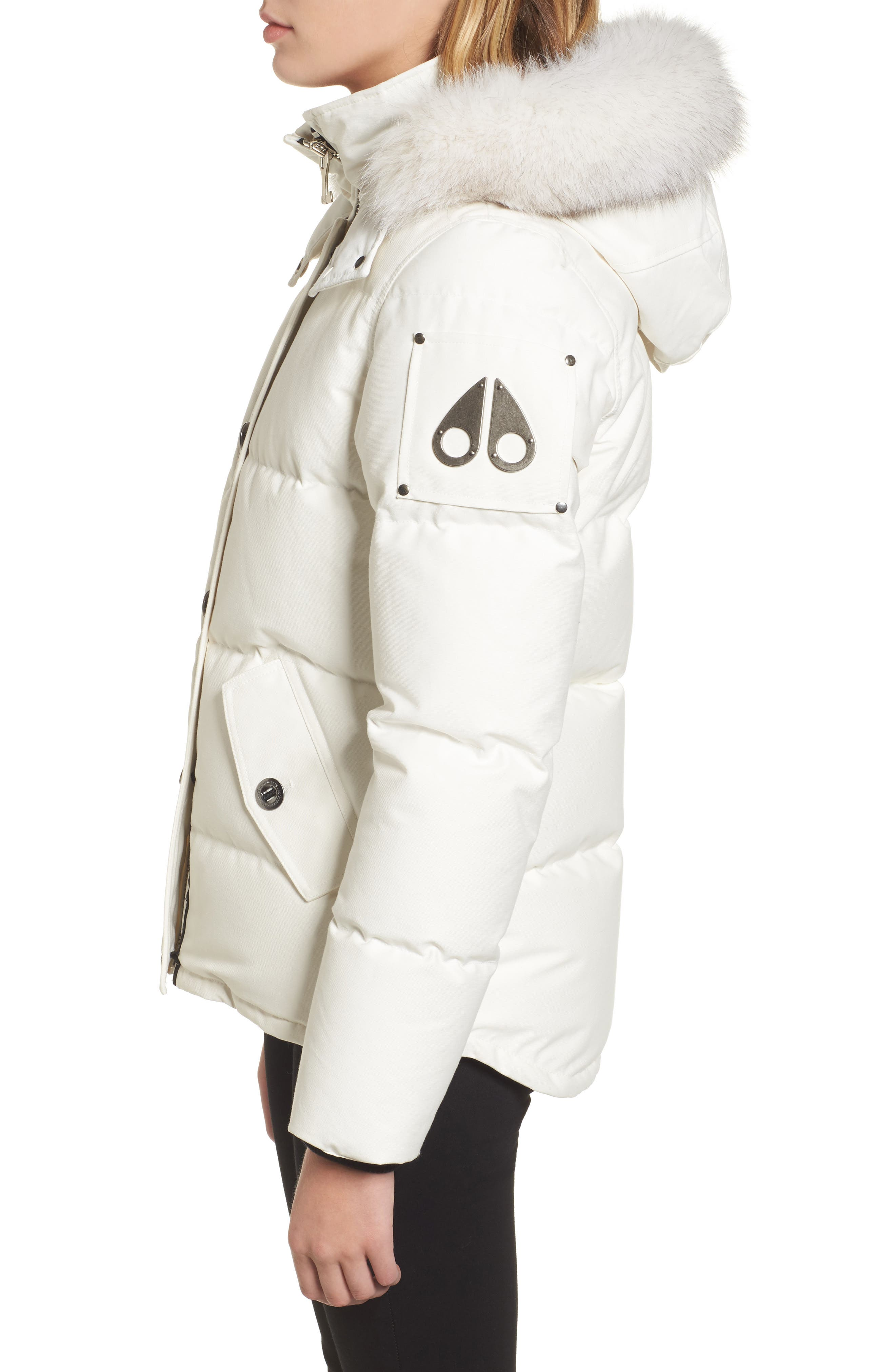Genuine Fox Fur Trim Hooded Down Coat,                             Alternate thumbnail 3, color,                             SNOW WHITE/ BLACK FUR
