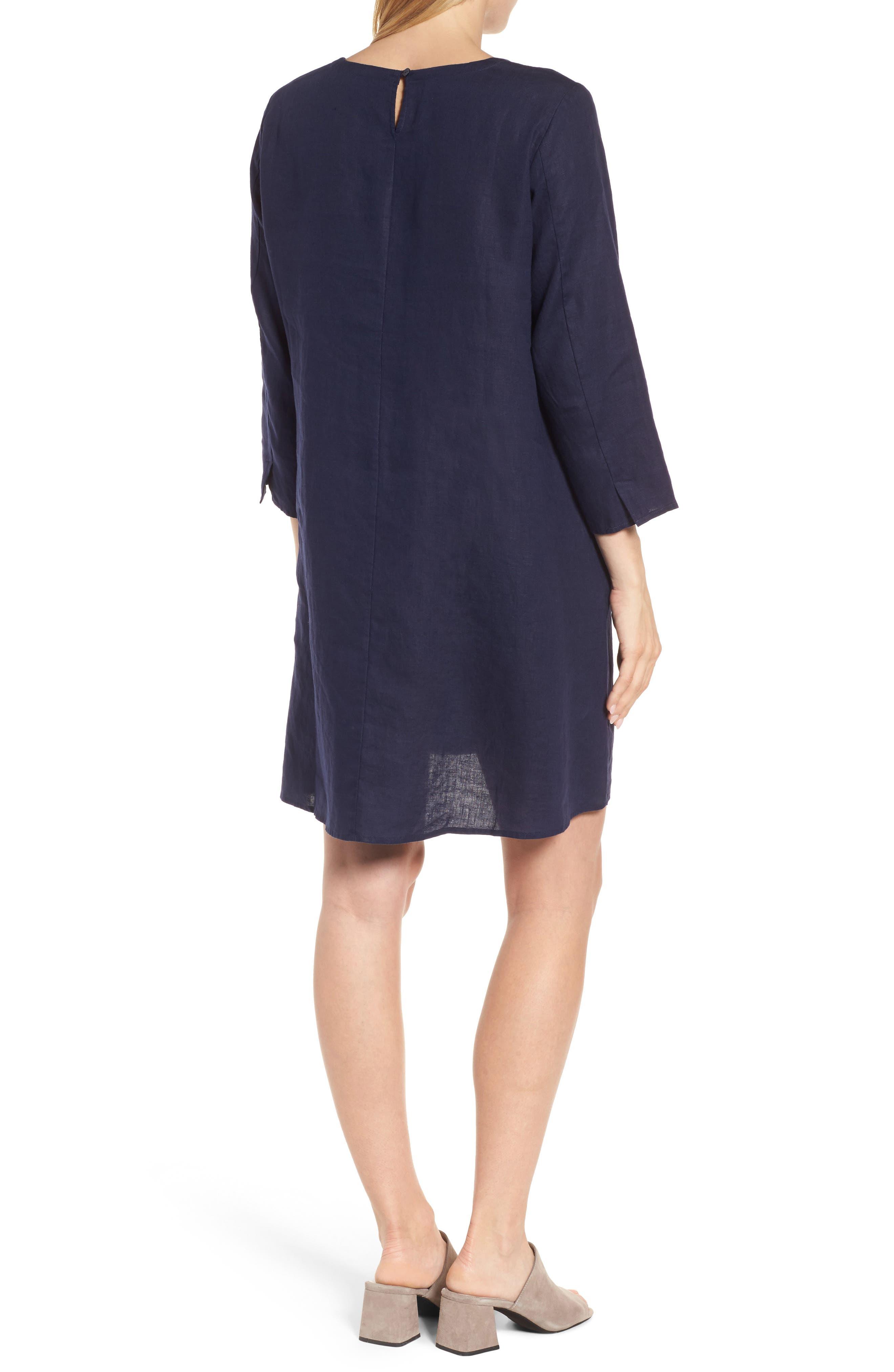 Organic Linen Round Neck Shift Dress,                             Alternate thumbnail 2, color,                             419