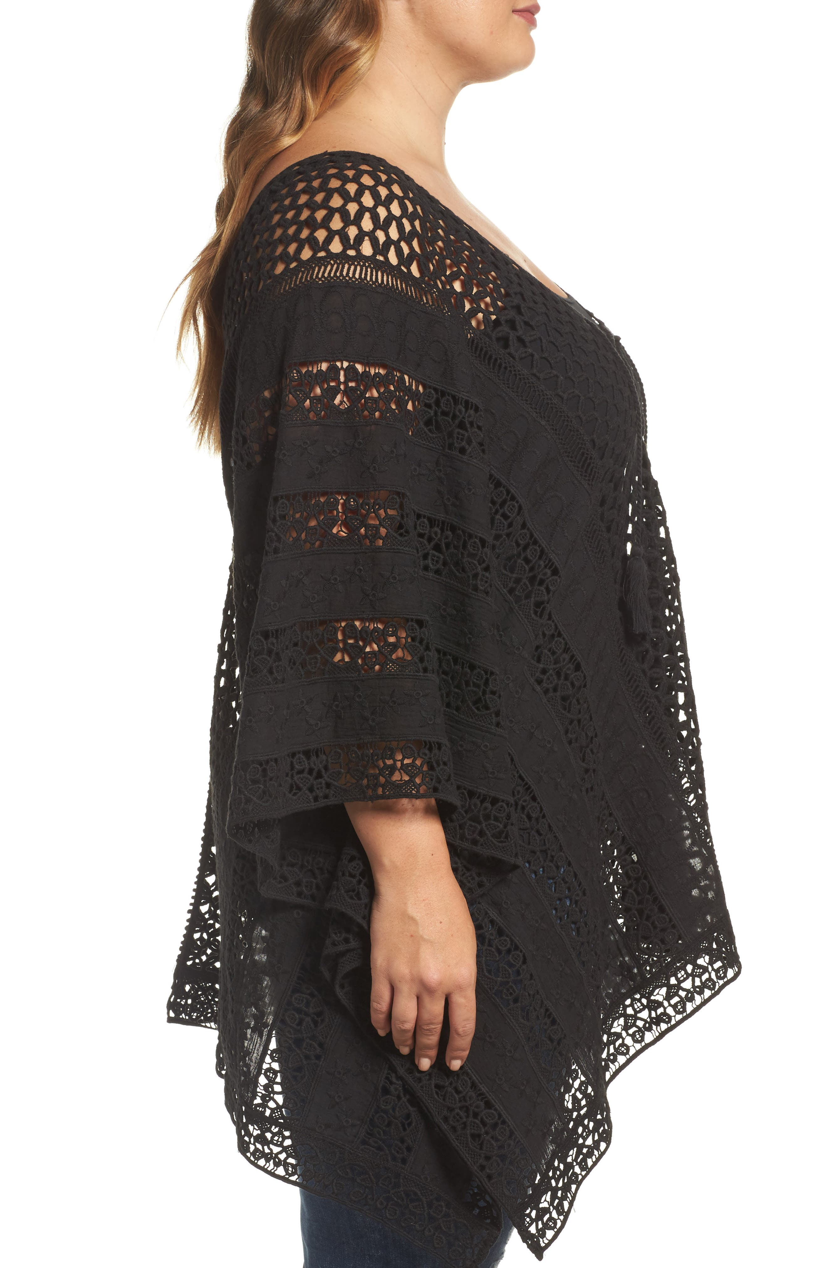 Jace Embroidered Cotton Poncho,                             Alternate thumbnail 3, color,                             001