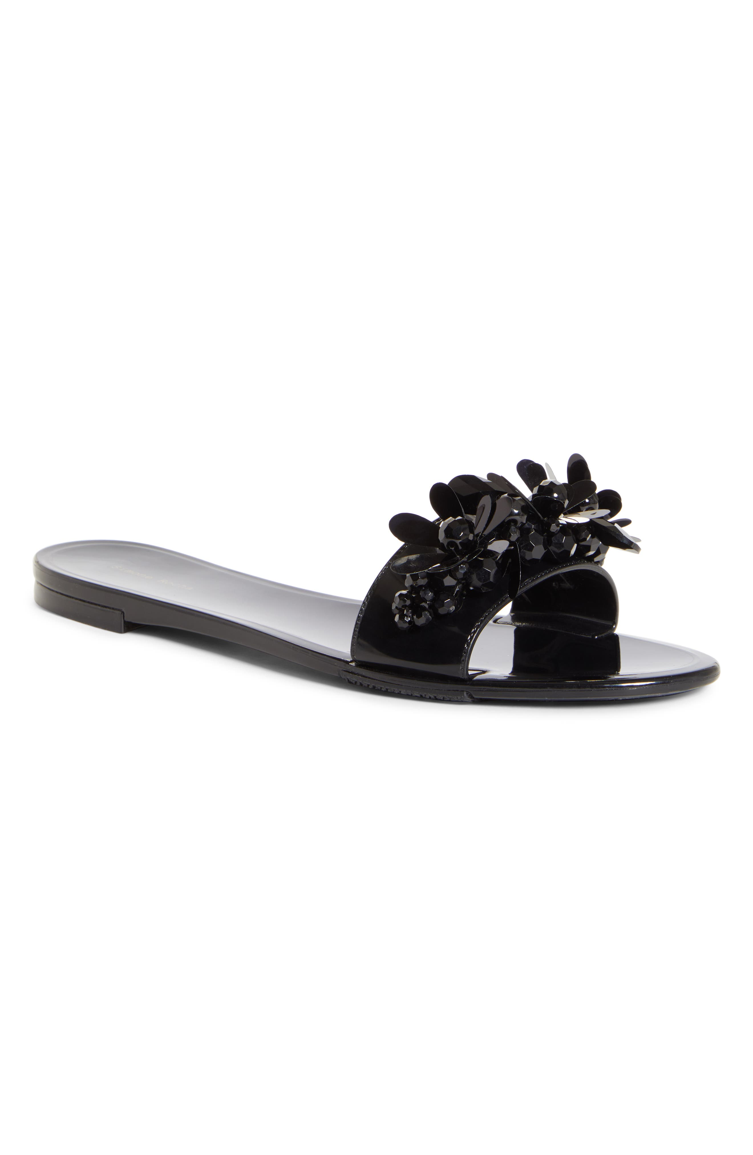 SIMONE ROCHA Embellished Jelly Slide Sandal, Main, color, BLACK/ JET