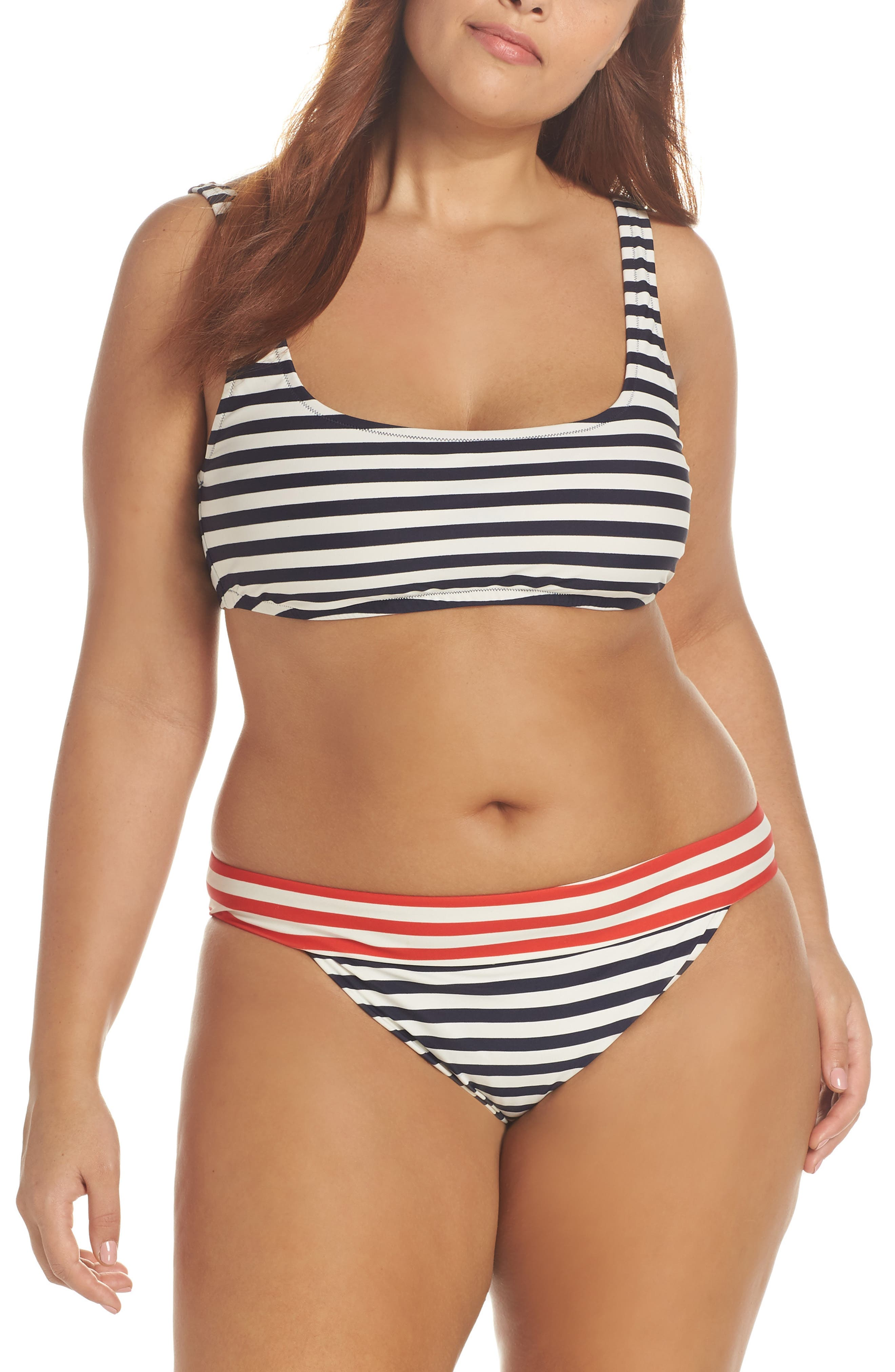 Stripe Banded Bikini Bottoms,                             Alternate thumbnail 7, color,                             NAVY VIVID FLAME