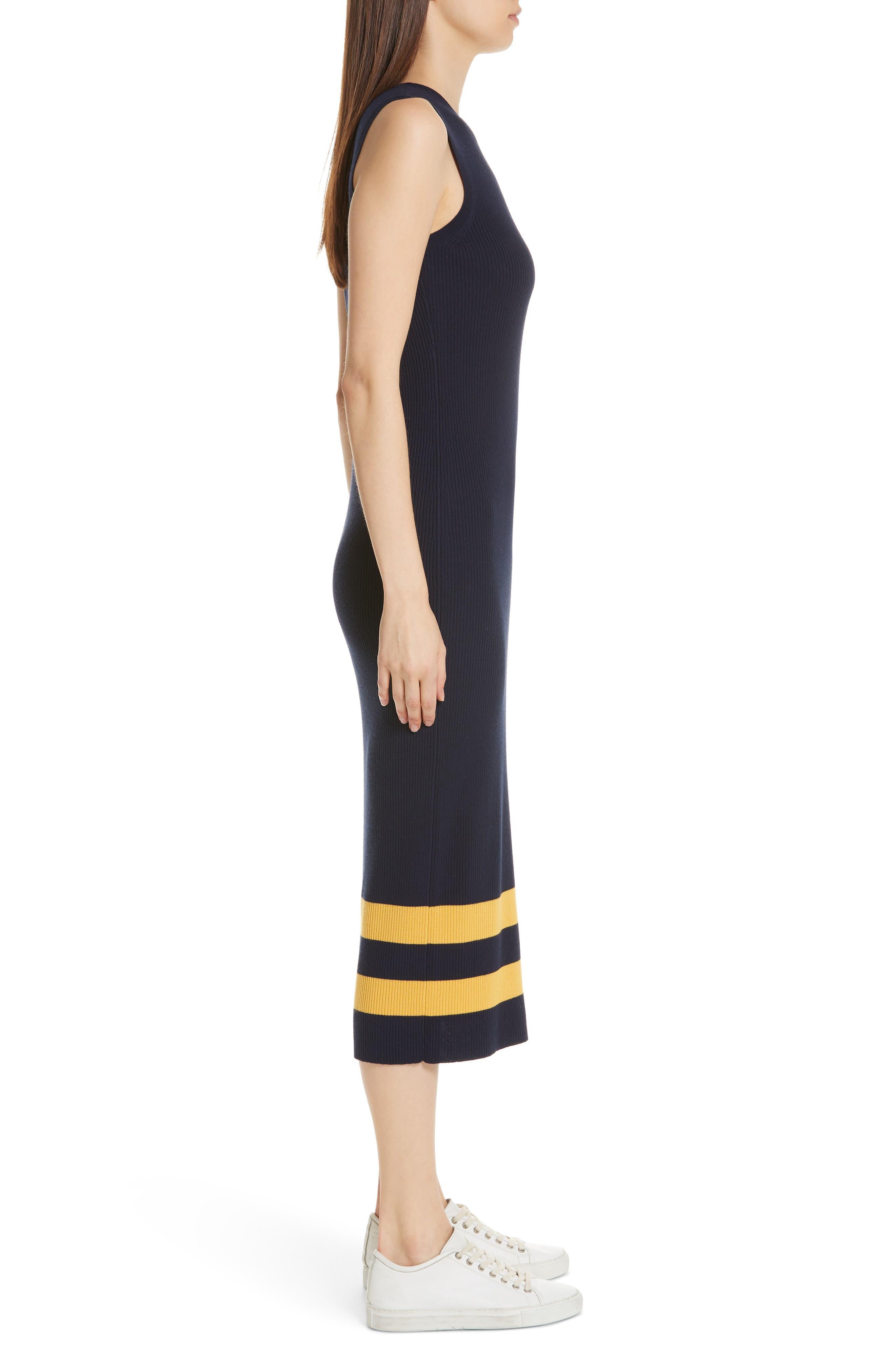 Midi Sweater Dress,                             Alternate thumbnail 3, color,                             NAVY/ GOLD