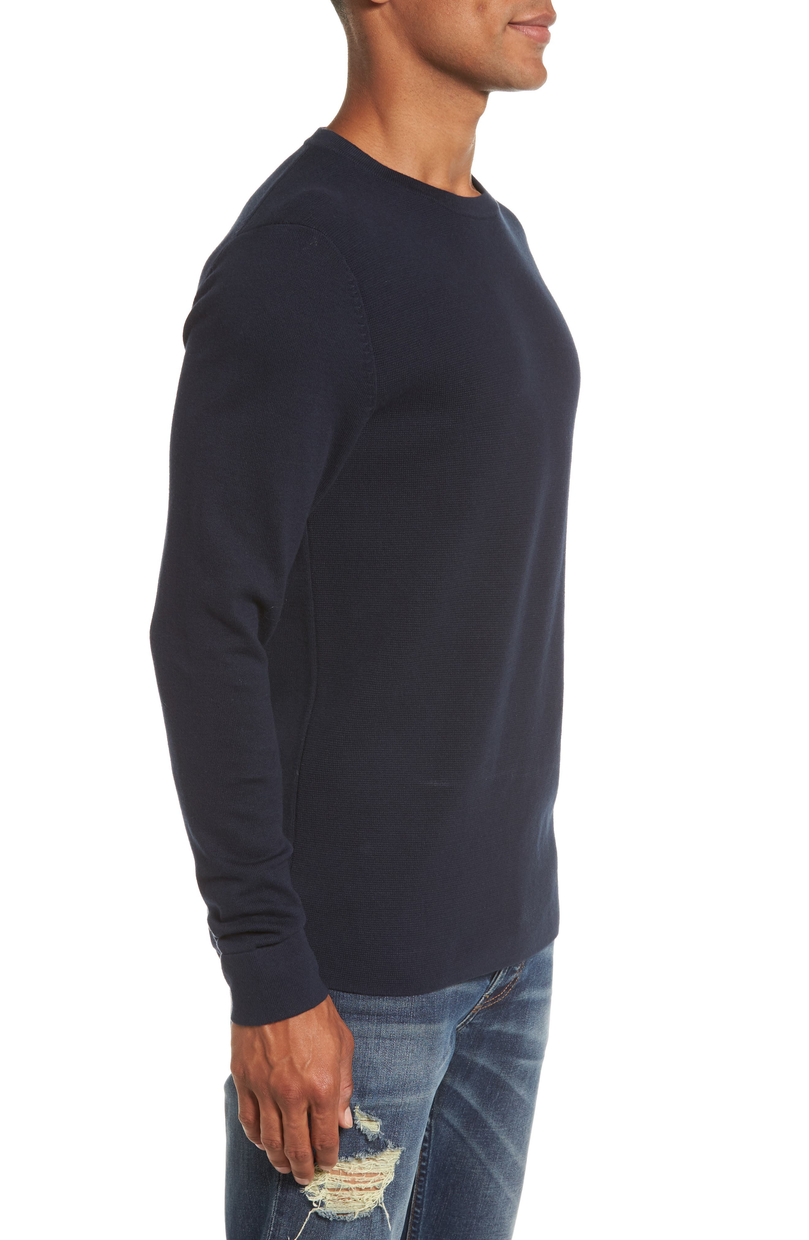 FRENCH CONNECTION,                             Milano Front Regular Fit Cotton Sweater,                             Alternate thumbnail 3, color,                             MARINE BLUE