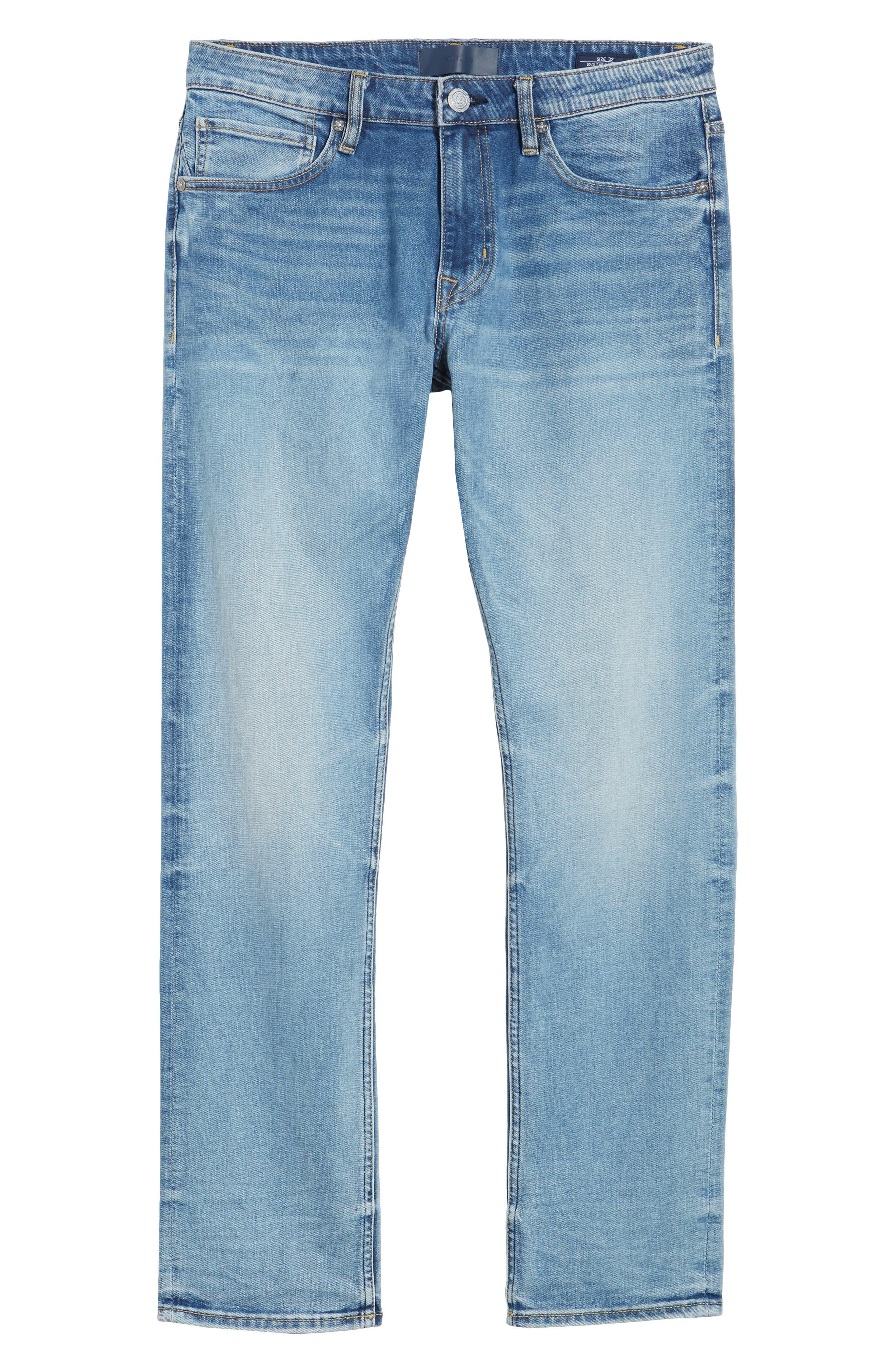 Slim Straight Leg Jeans,                             Alternate thumbnail 6, color,                             LIGHT WASH