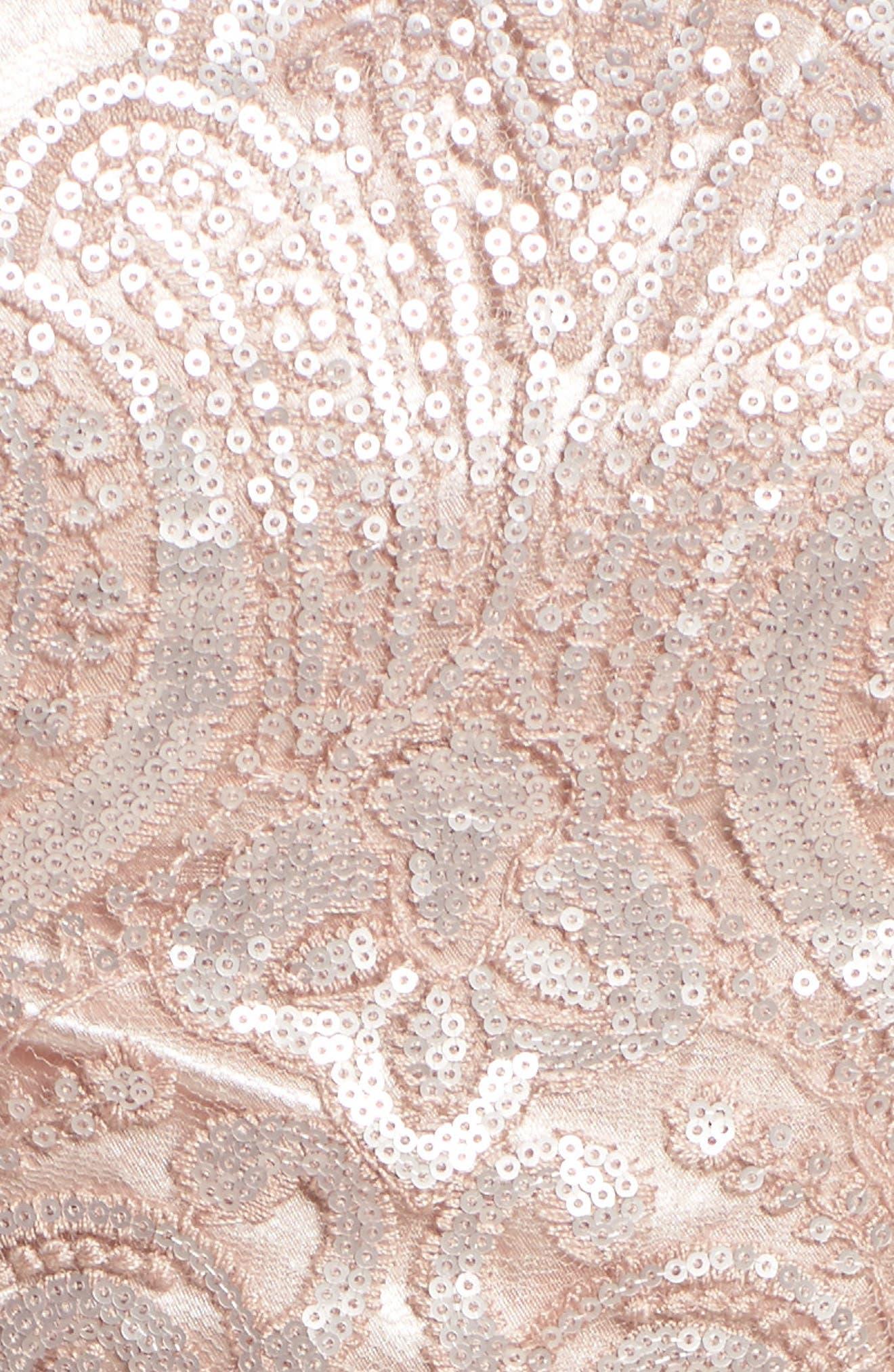 Lace Illusion Fit & Flare Dress,                             Alternate thumbnail 5, color,                             510