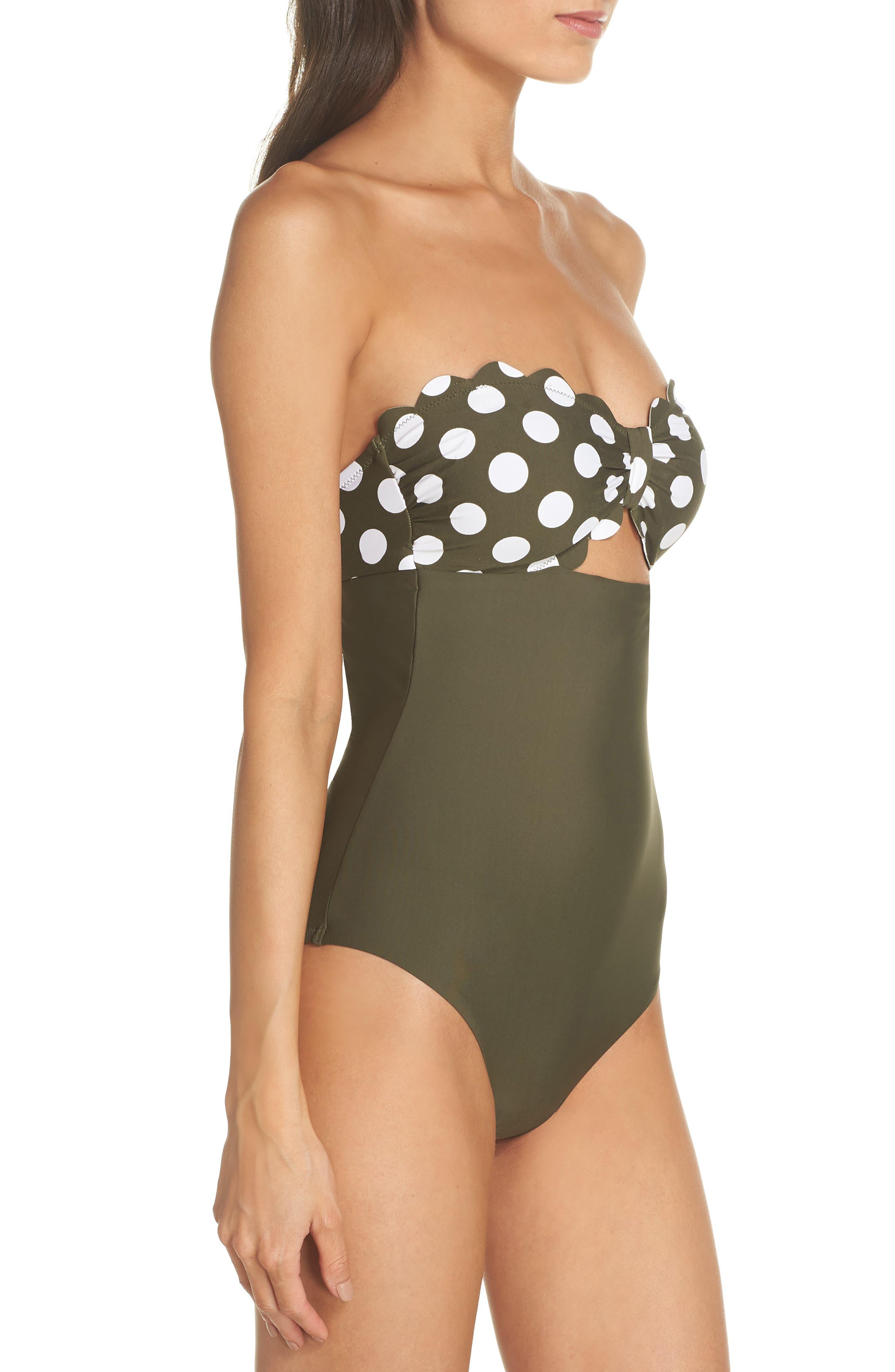 Scallop Bandeau One-Piece Swimsuit,                             Alternate thumbnail 4, color,                             OLIVE SARMA/ IVORY EGRET DOT