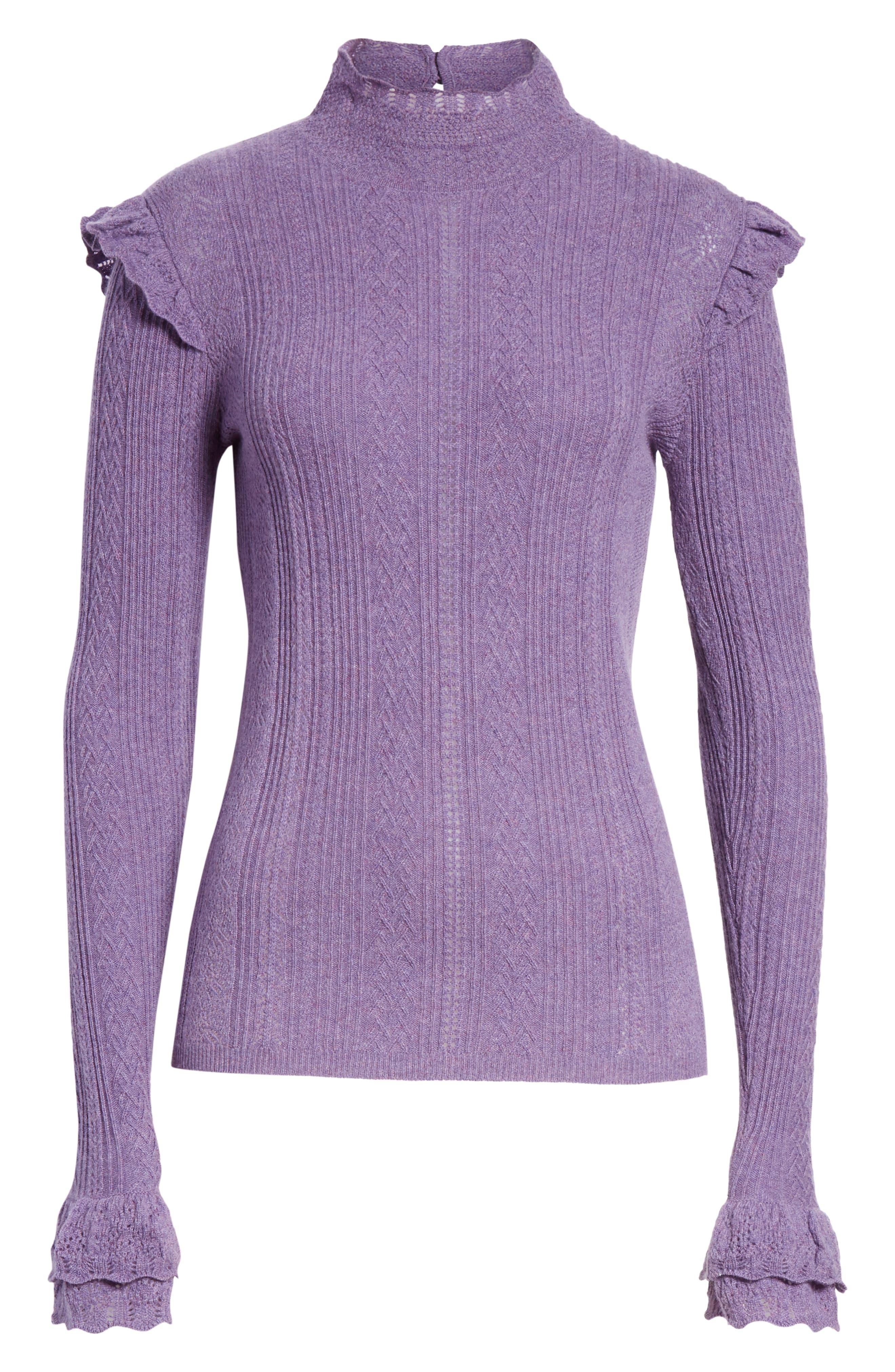 POLO RALPH LAUREN,                             Ruffle Detail Pointelle Sweater,                             Alternate thumbnail 6, color,                             500