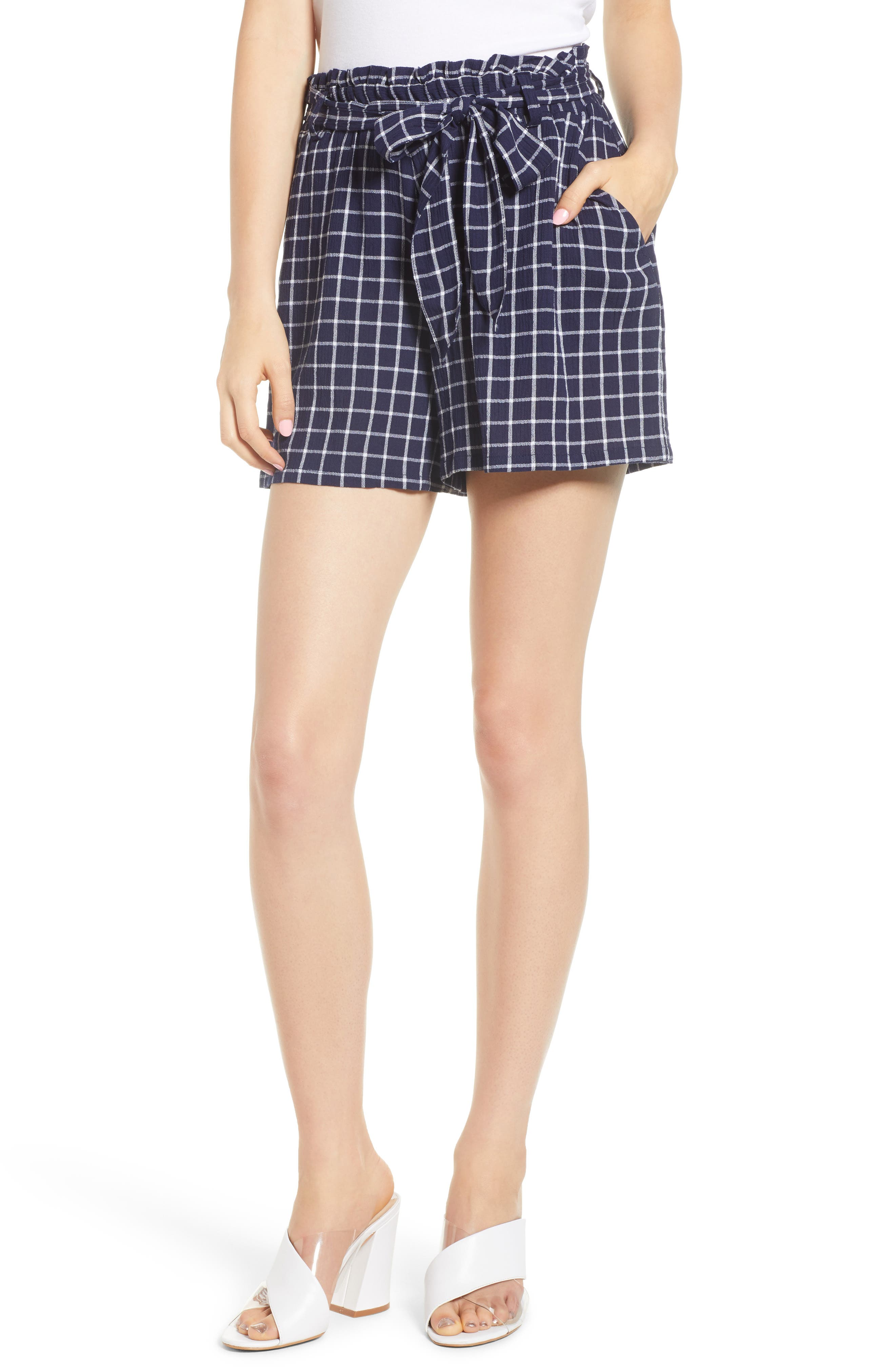 Plaid Paper Bag Waist Shorts,                             Main thumbnail 1, color,                             401