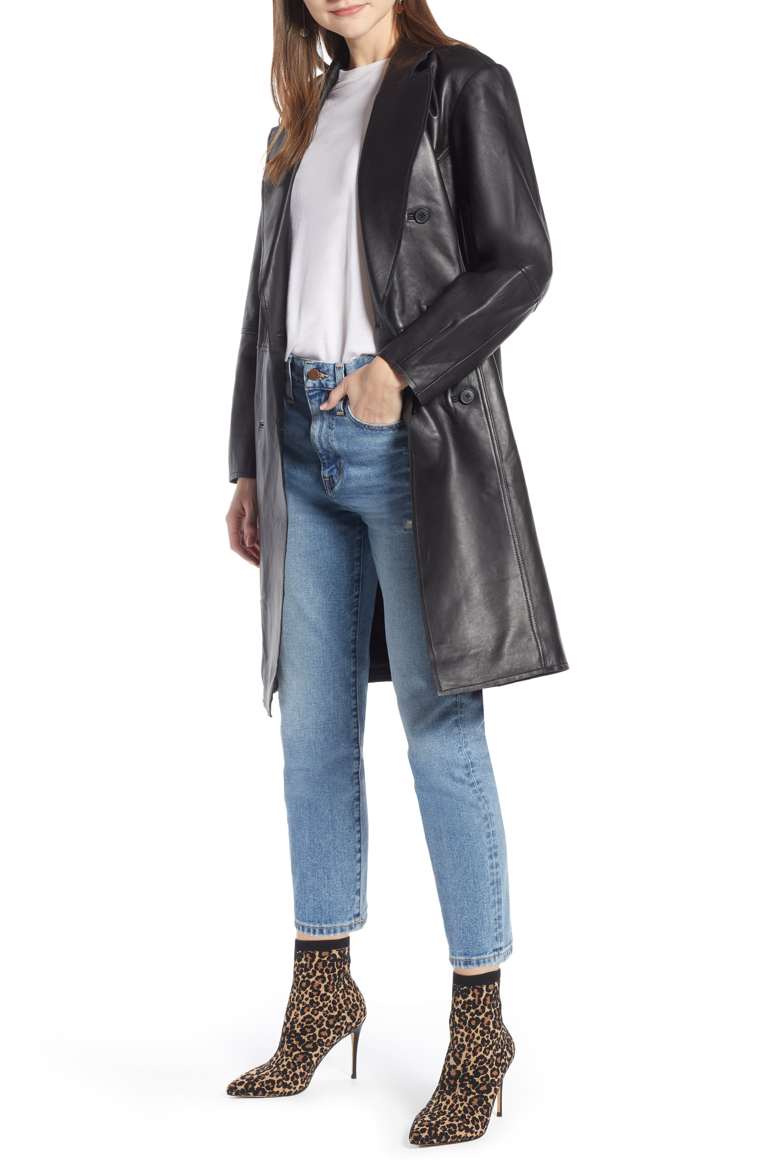 Double Breasted Leather Coat,                             Main thumbnail 1, color,                             BLACK