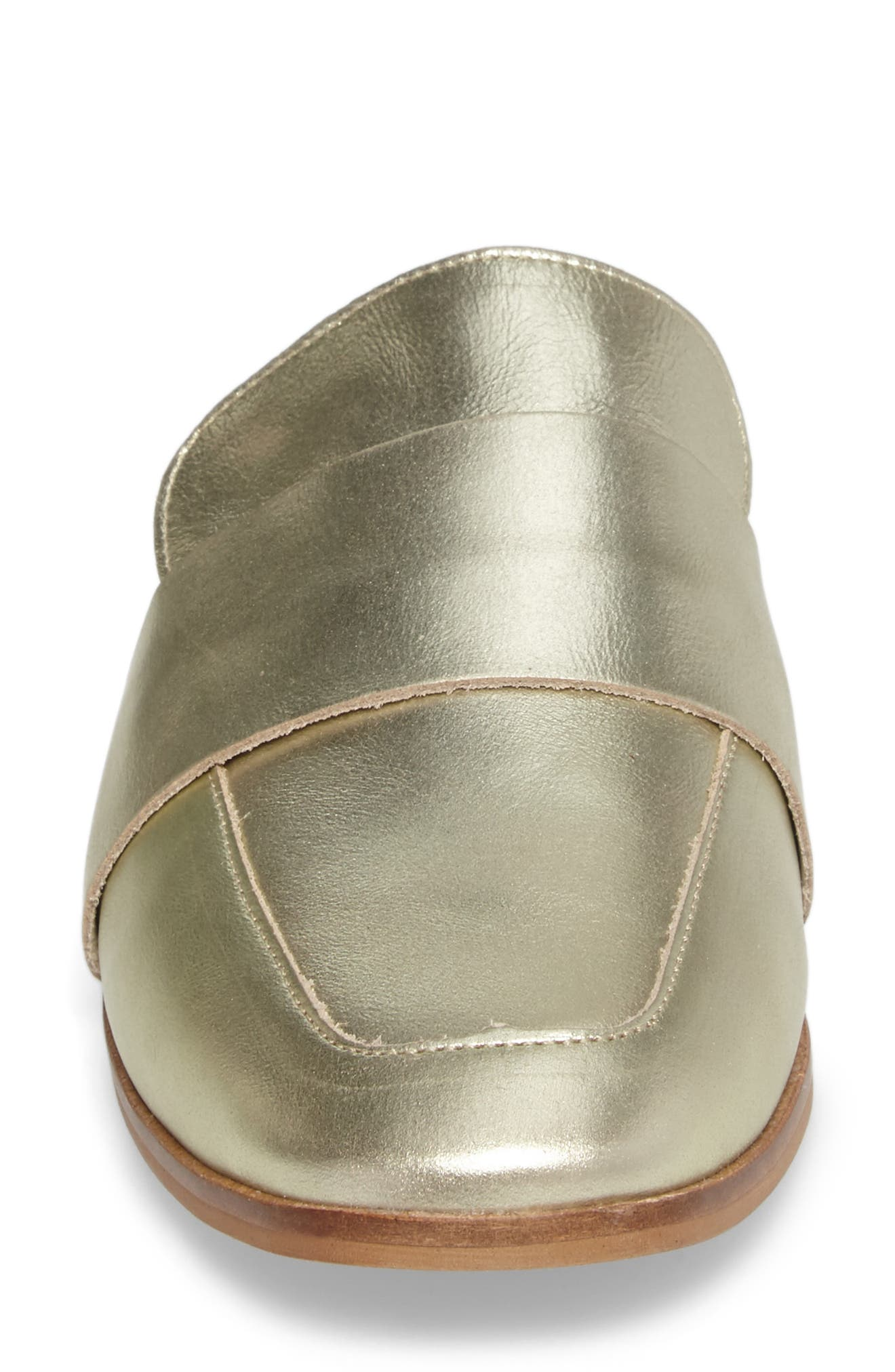 At Ease Loafer Mule,                             Alternate thumbnail 4, color,                             GOLD LEATHER