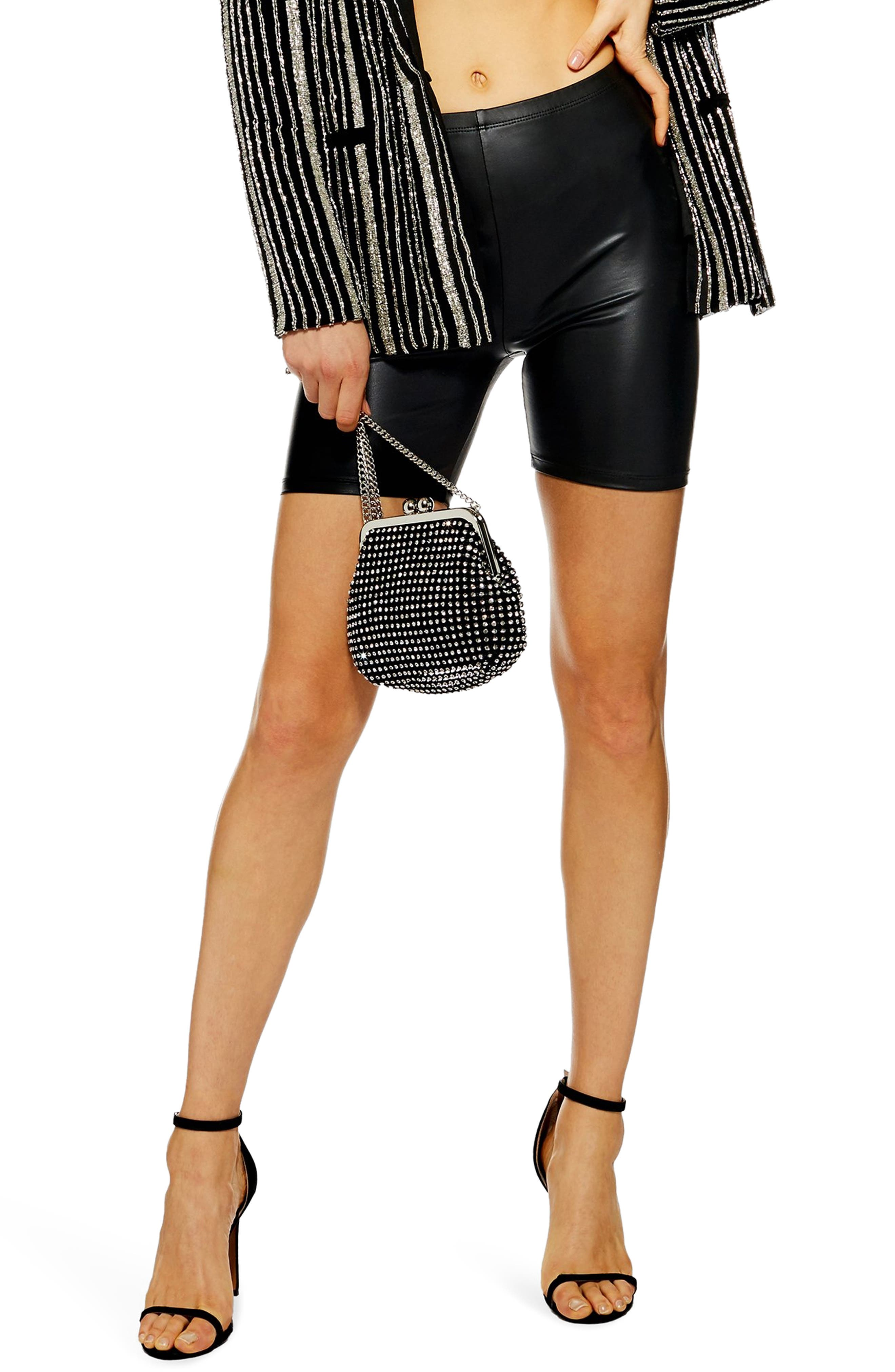 Faux Leather Cycling Shorts,                         Main,                         color, BLACK