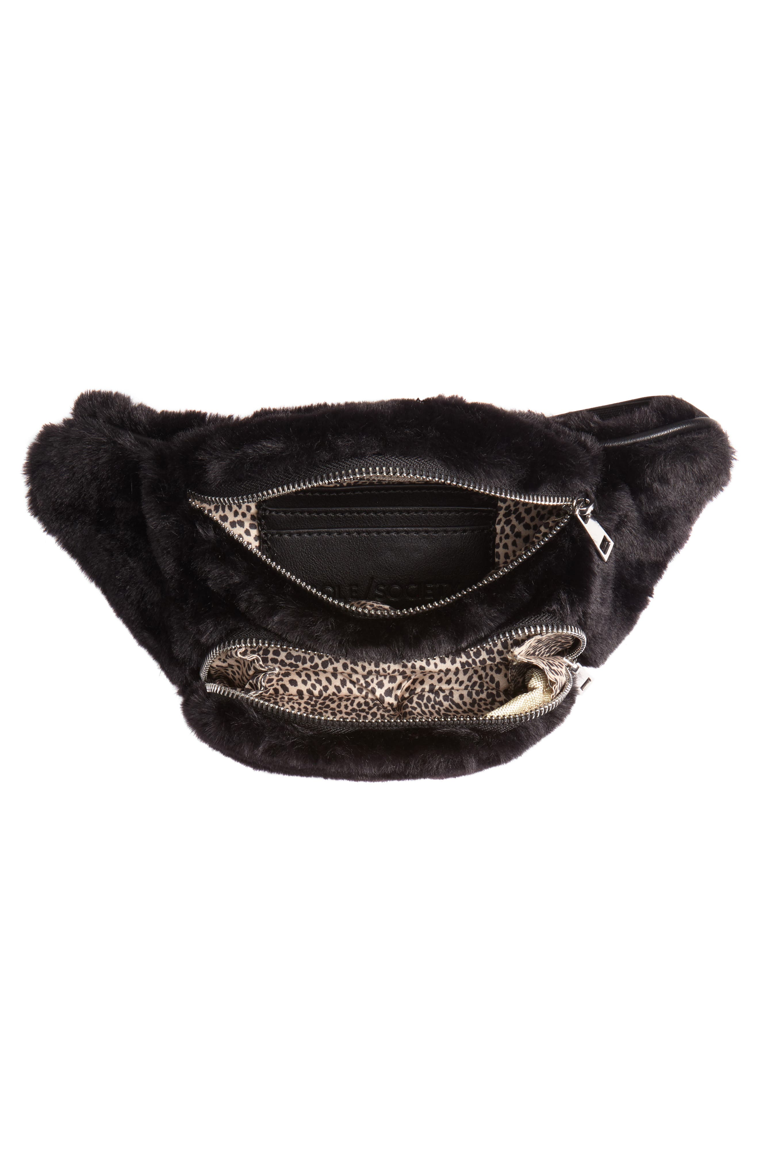 Jaida Faux Fur Belt Bag,                             Alternate thumbnail 5, color,                             BLACK