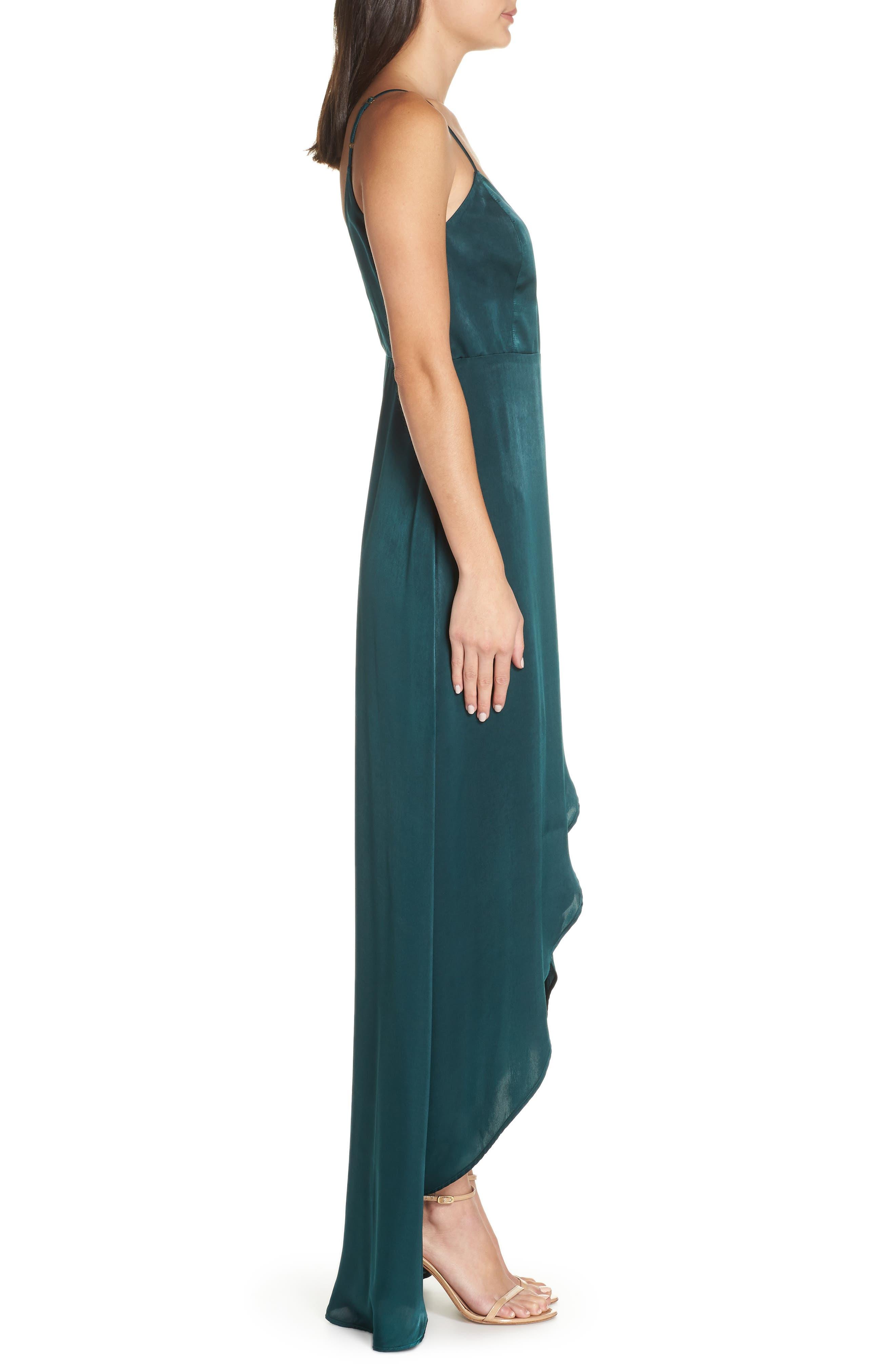 Mariah Satin Wrap Evening Dress,                             Alternate thumbnail 3, color,                             301