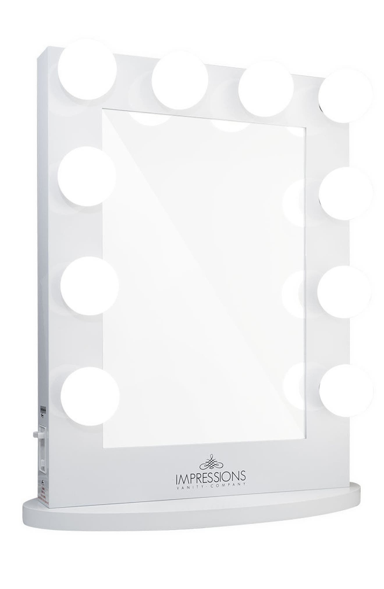 Hollywood Iconic<sup>™</sup> Vanity Mirror,                             Main thumbnail 1, color,                             WHITE