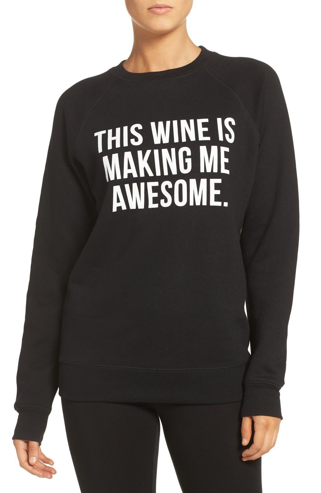 'This Wine' Crewneck Sweatshirt,                         Main,                         color, 001