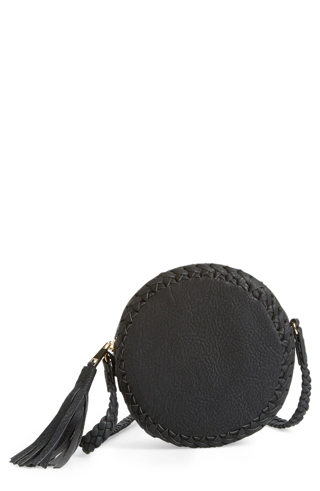 Faux Leather Round Crossbody Bag,                             Main thumbnail 1, color,                             001