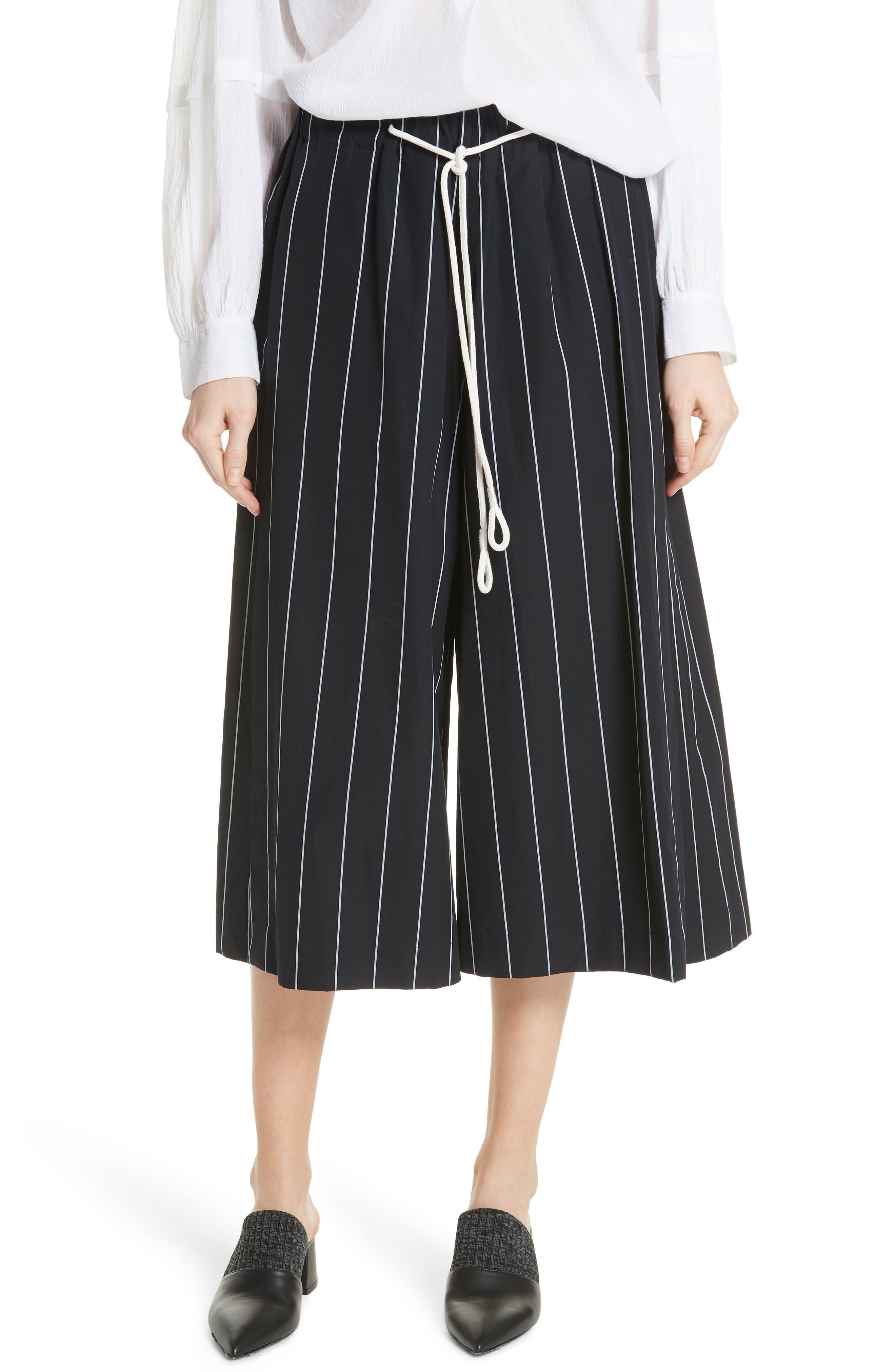 Stripe Cotton Culottes,                         Main,                         color, 416