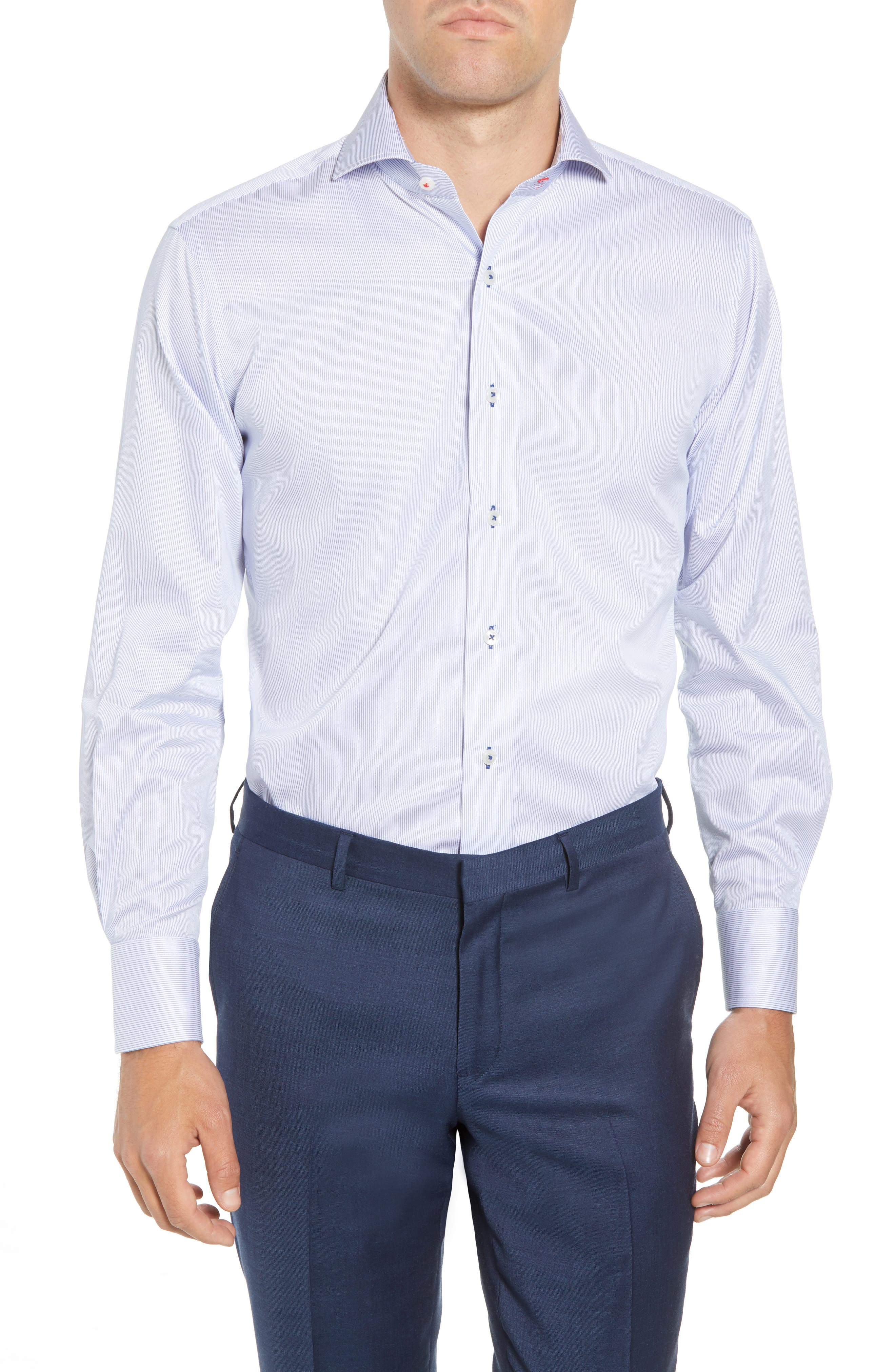 Trim Fit Stripe Dress Shirt,                         Main,                         color, 400
