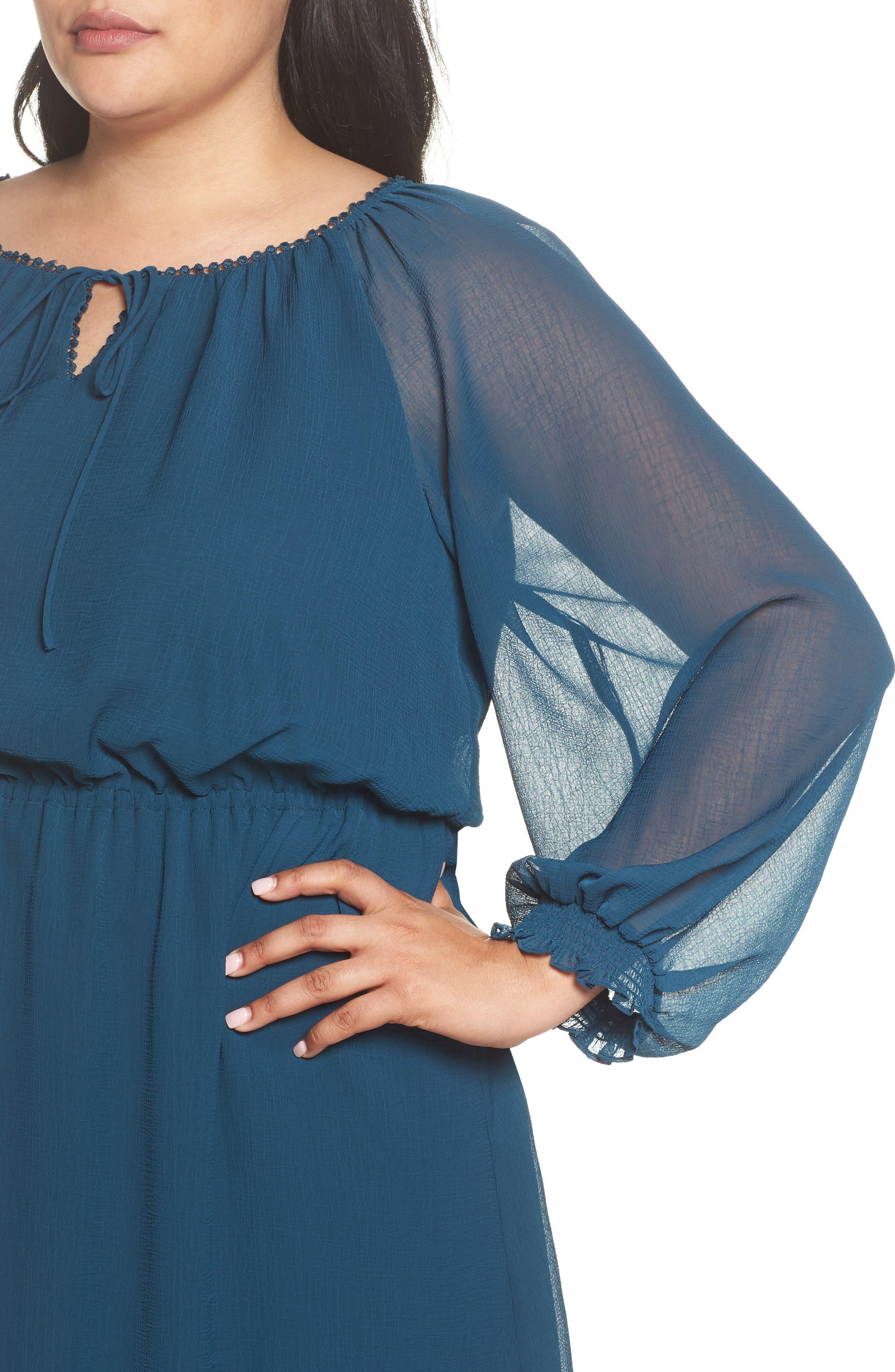 Bishop Sleeve Blouson Dress,                             Alternate thumbnail 4, color,                             471