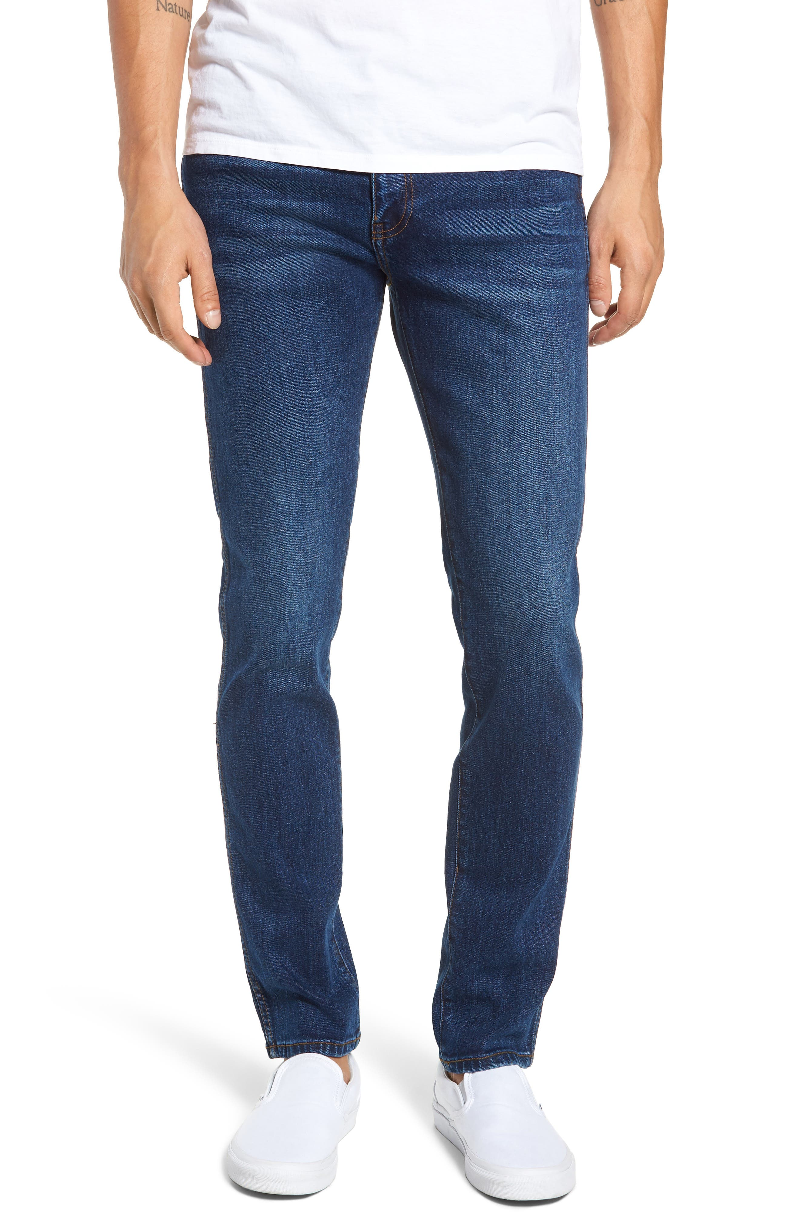 Snap Skinny Fit Jeans,                             Main thumbnail 1, color,                             DARK SHADED BLUE