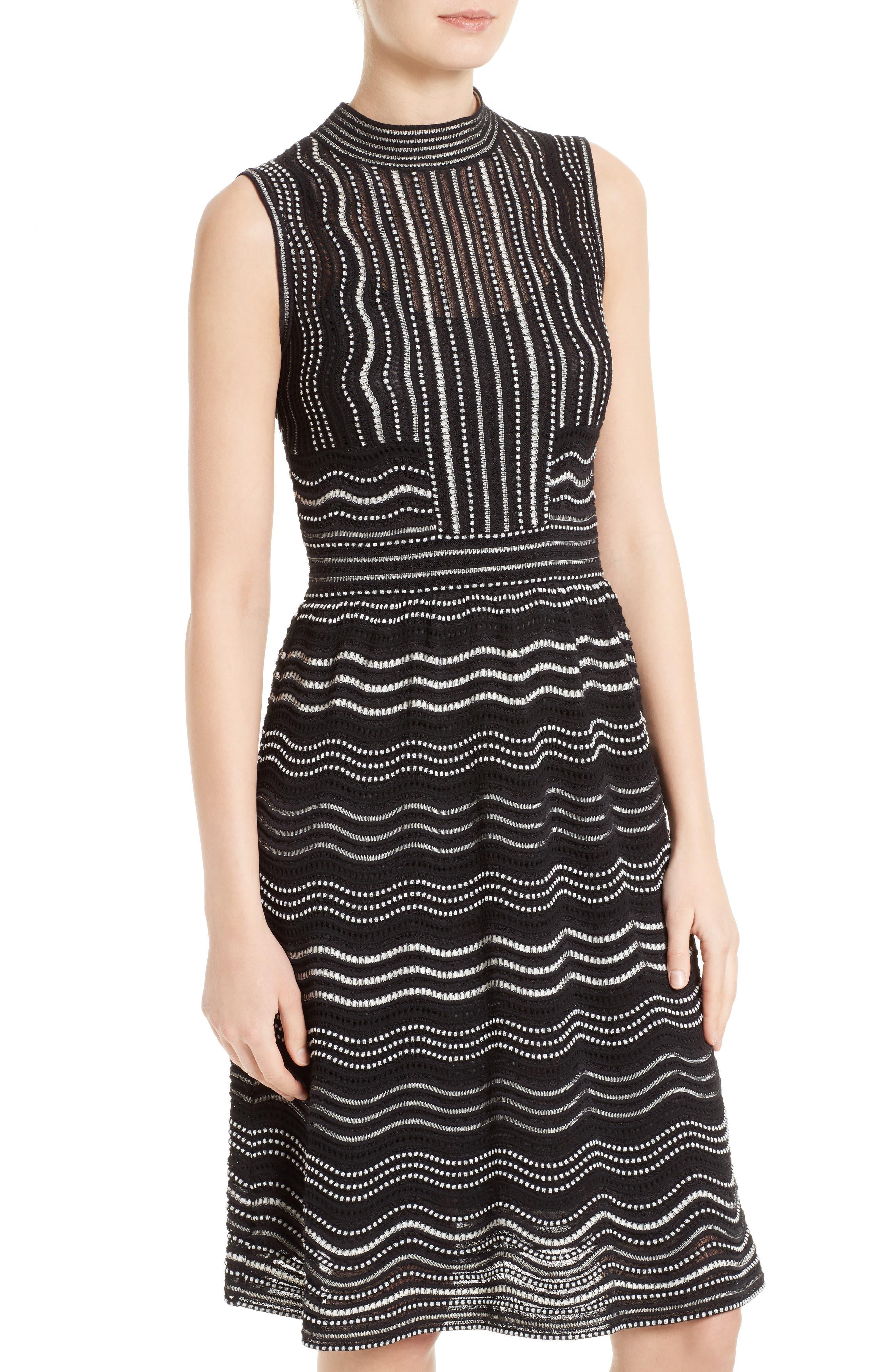Ripple Dot Fit & Flare Dress,                             Alternate thumbnail 4, color,                             001
