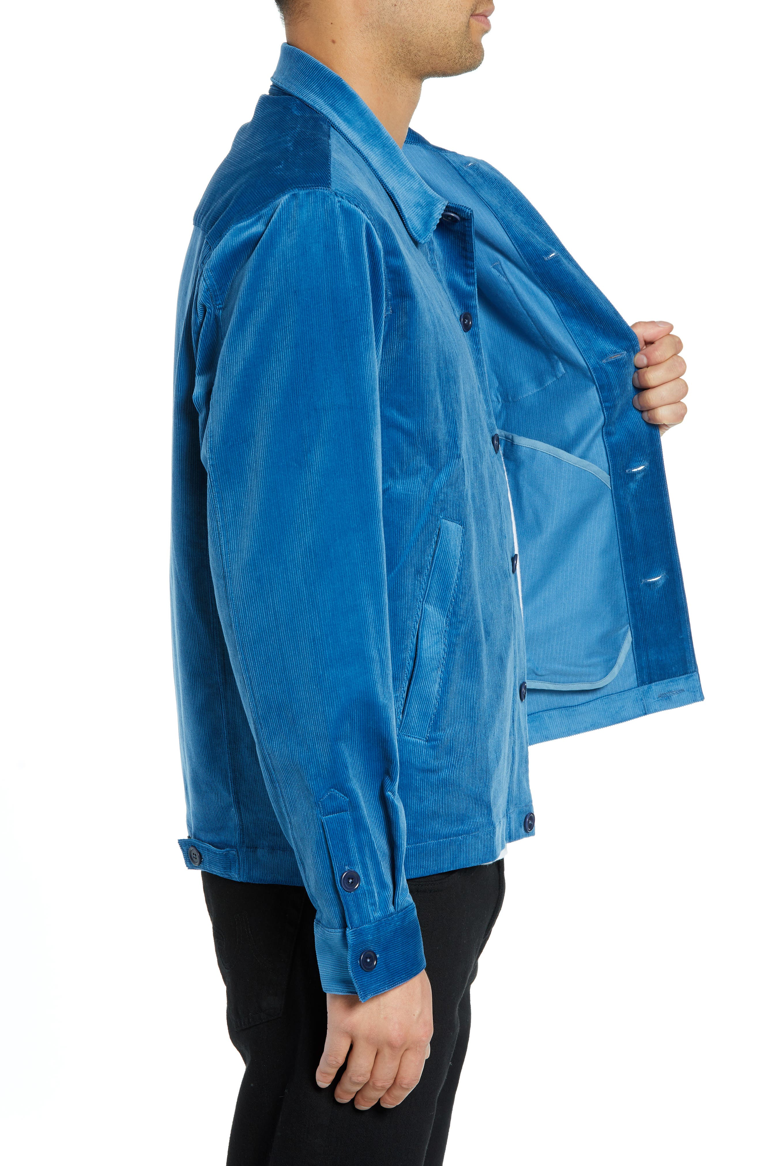 Corduroy Stretch Shirt Jacket,                             Alternate thumbnail 4, color,                             BLUE