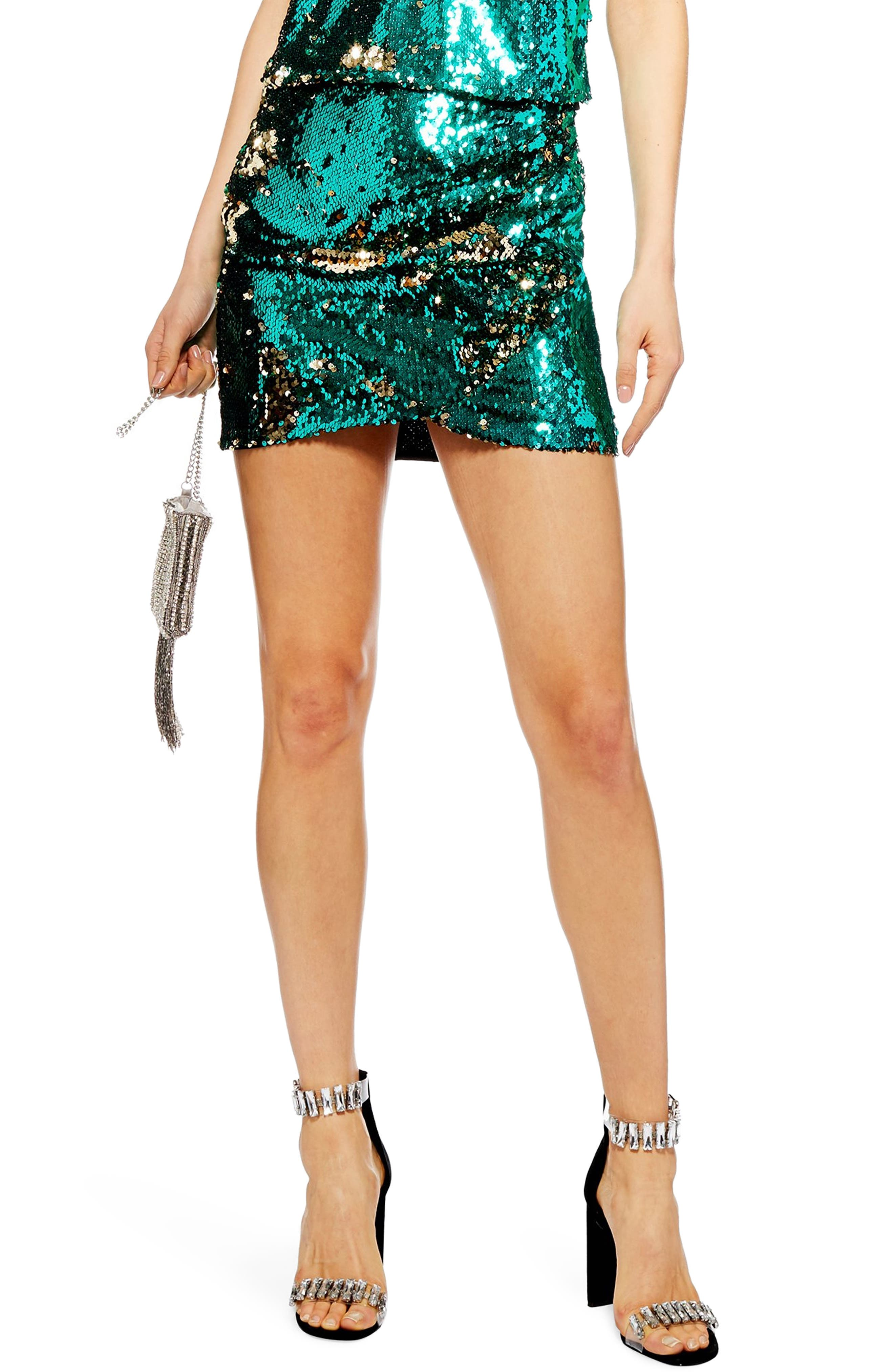 Sequin Drape Miniskirt,                             Main thumbnail 1, color,                             GREEN
