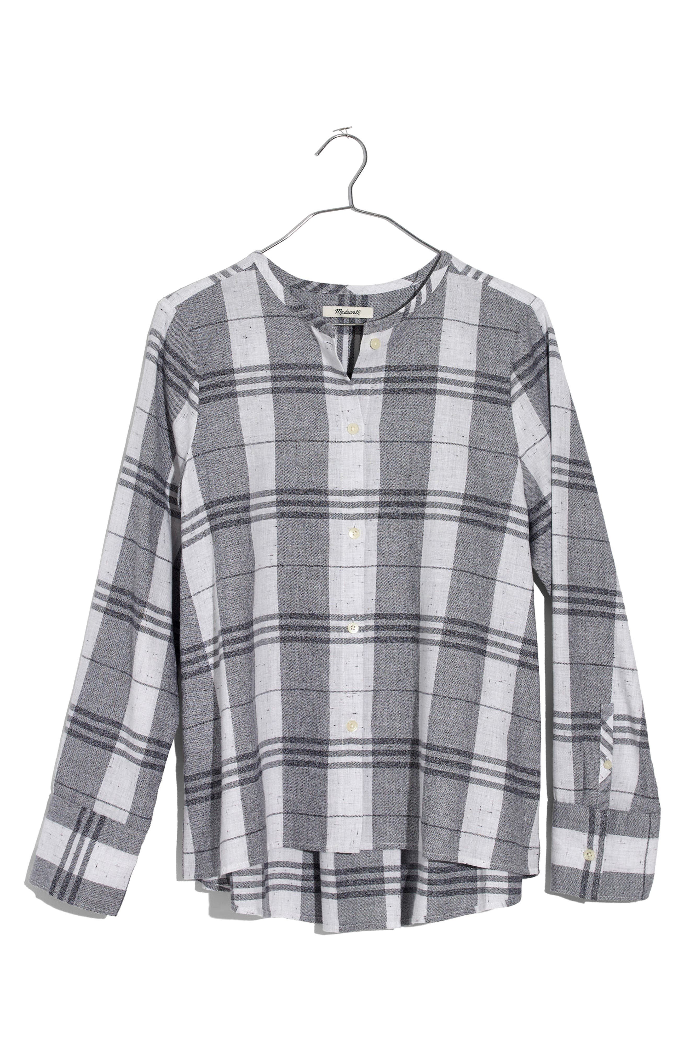 Plaid Collarless Button Down Shirt,                             Alternate thumbnail 3, color,