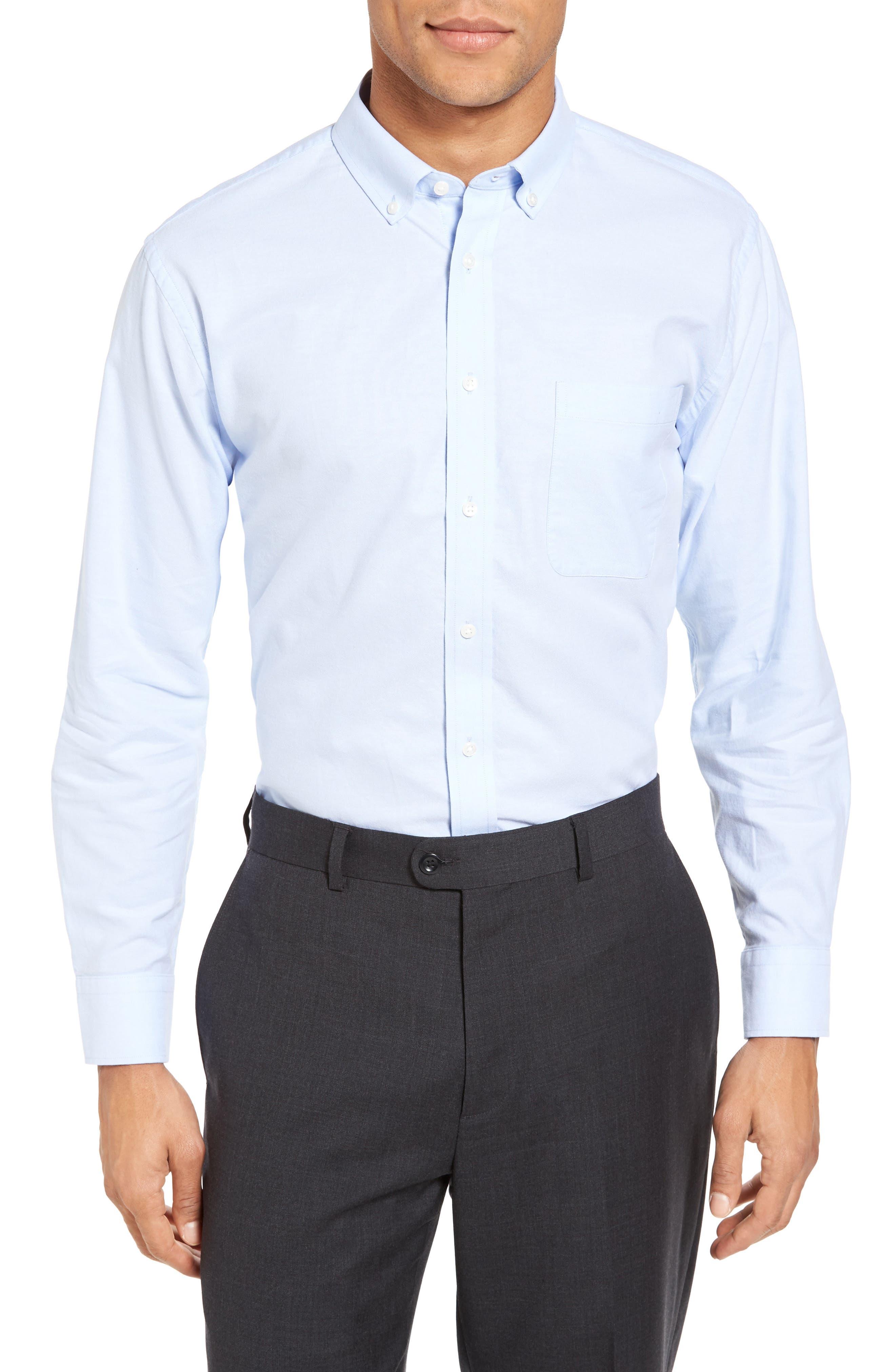 Trim Fit Solid Oxford Dress Shirt,                             Alternate thumbnail 5, color,