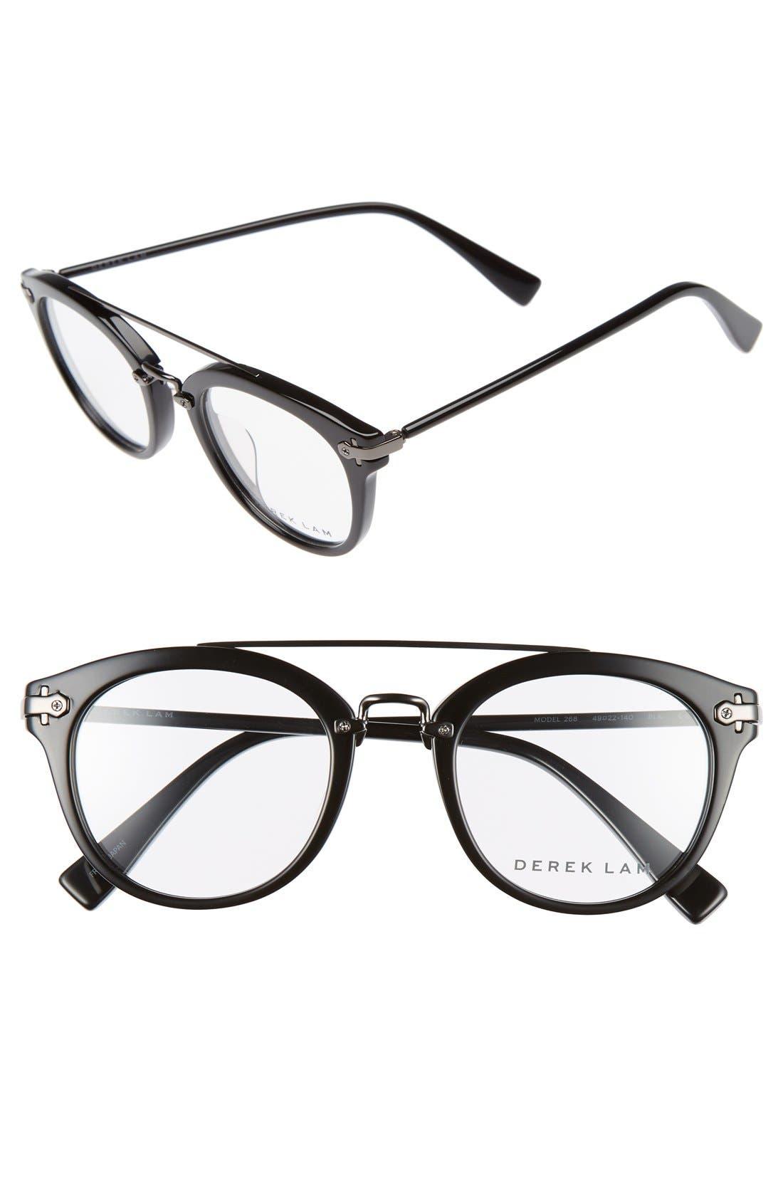 49mm Aviator Sunglasses,                         Main,                         color, BLACK