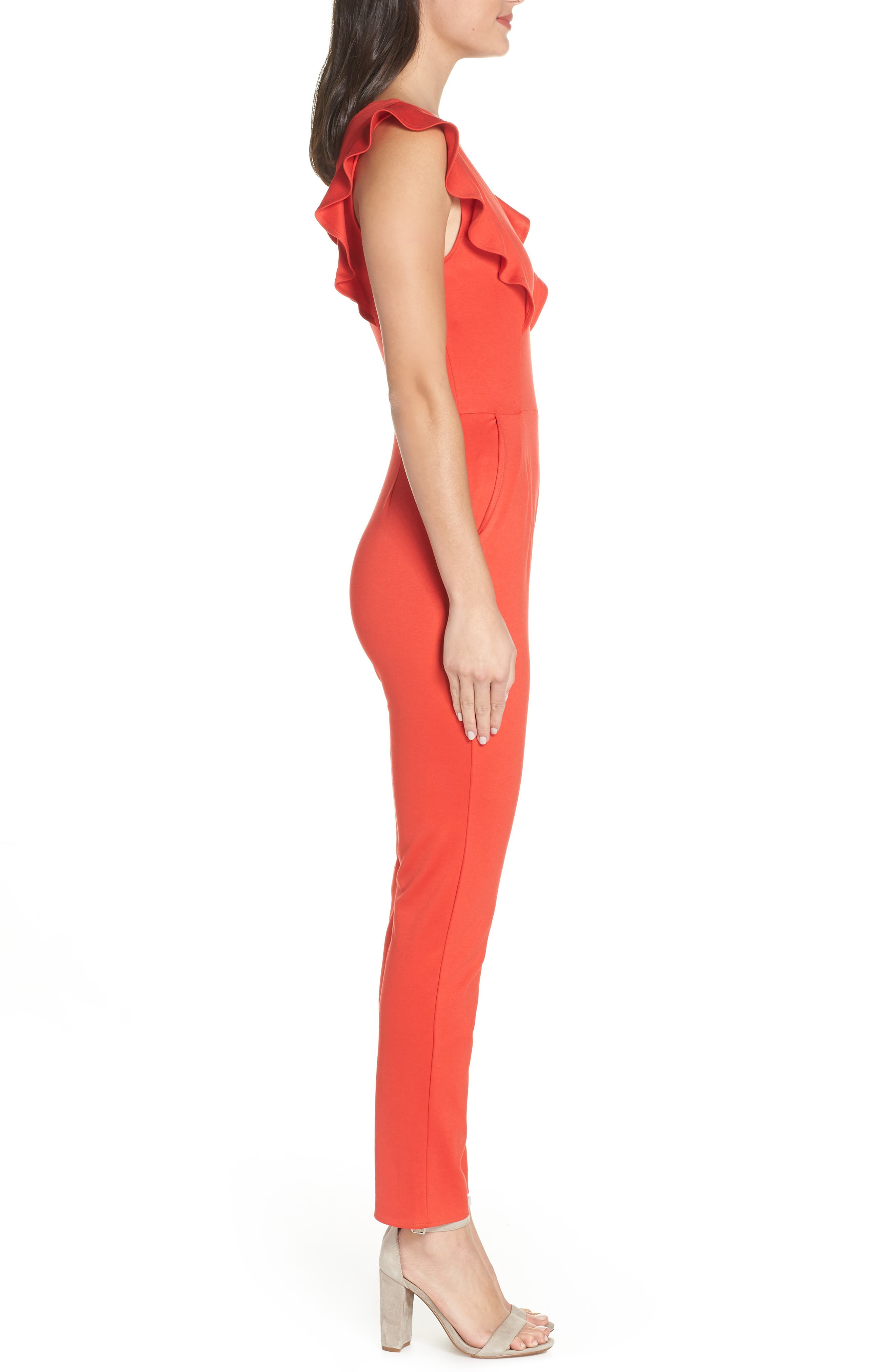 FRAICHE BY J,                             V-Neck Ruffle Jumpsuit,                             Alternate thumbnail 3, color,                             RED