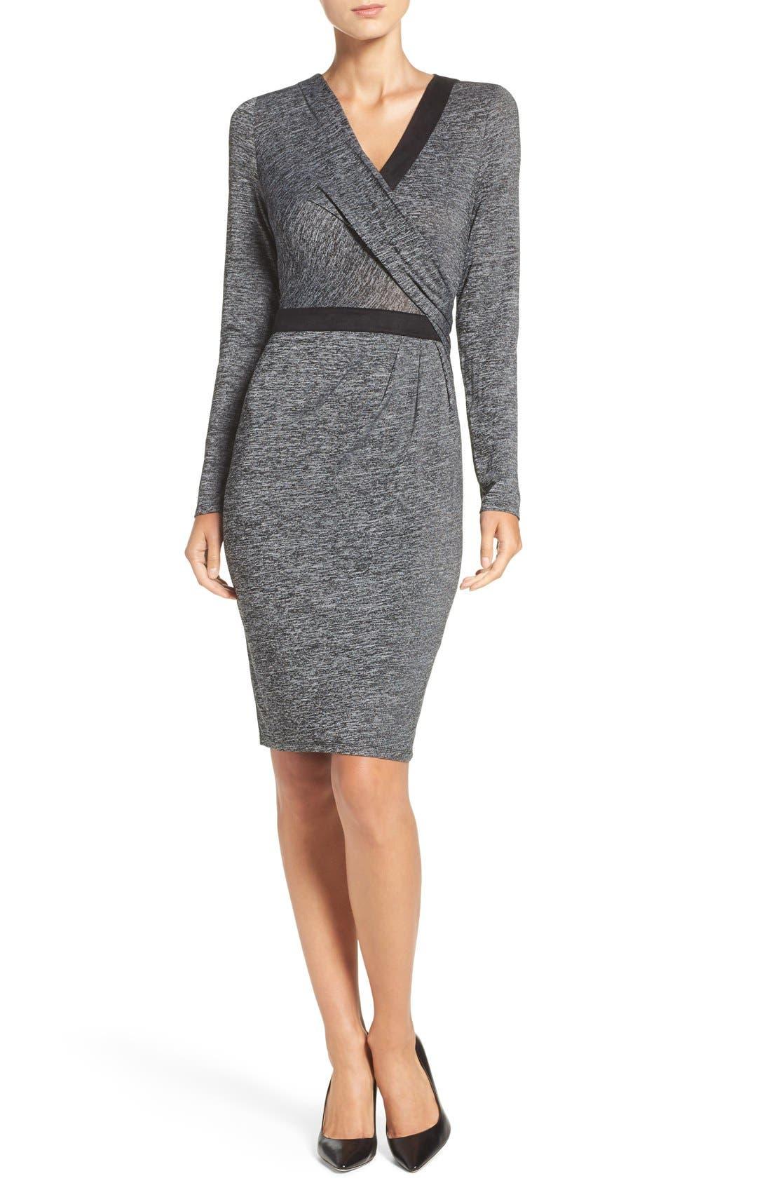 Knit Faux Wrap Dress,                             Main thumbnail 1, color,                             023