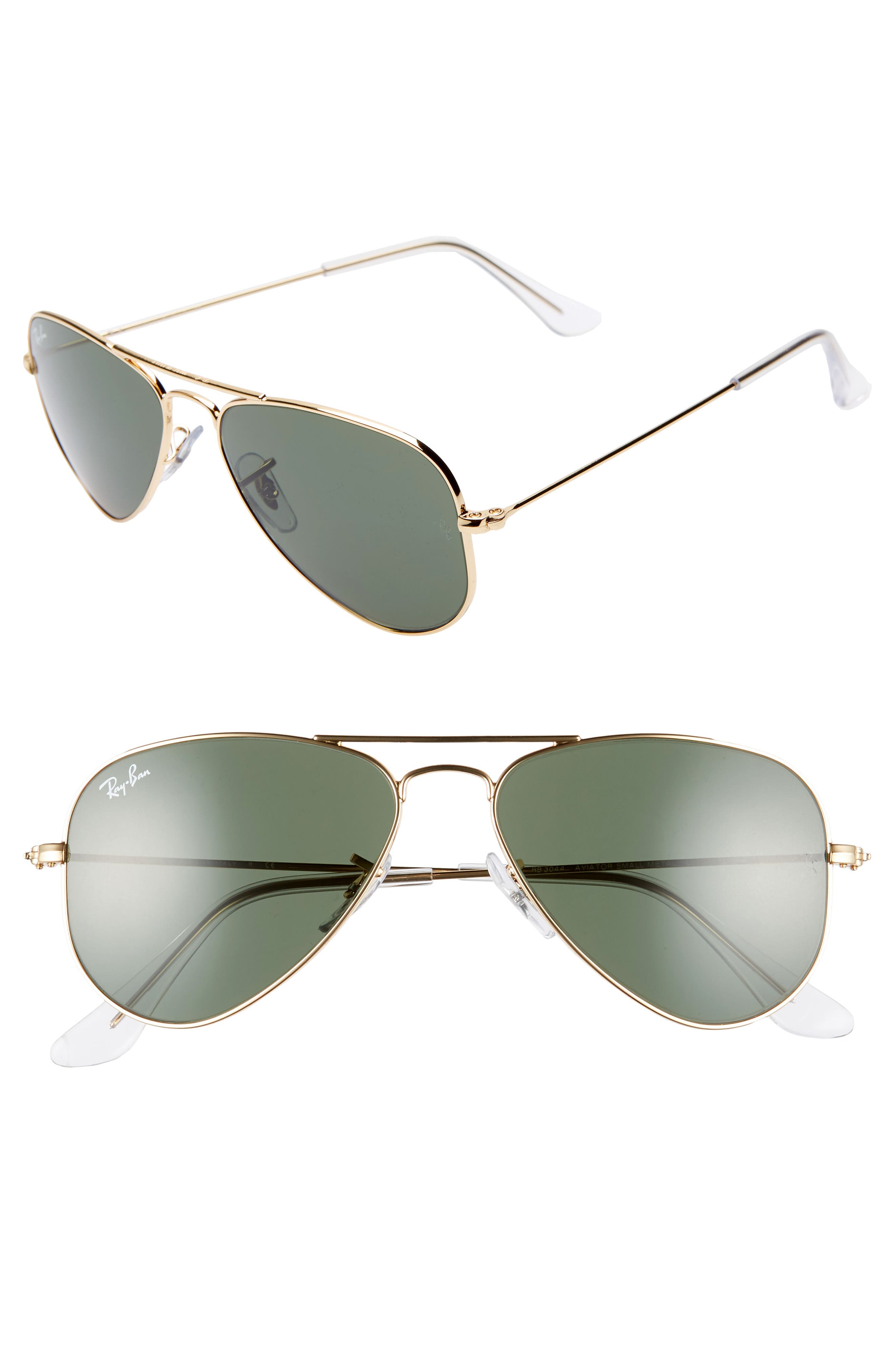 52mm Extra Small Aviator Sunglasses,                             Main thumbnail 1, color,                             GOLD/ GREEN SOLID
